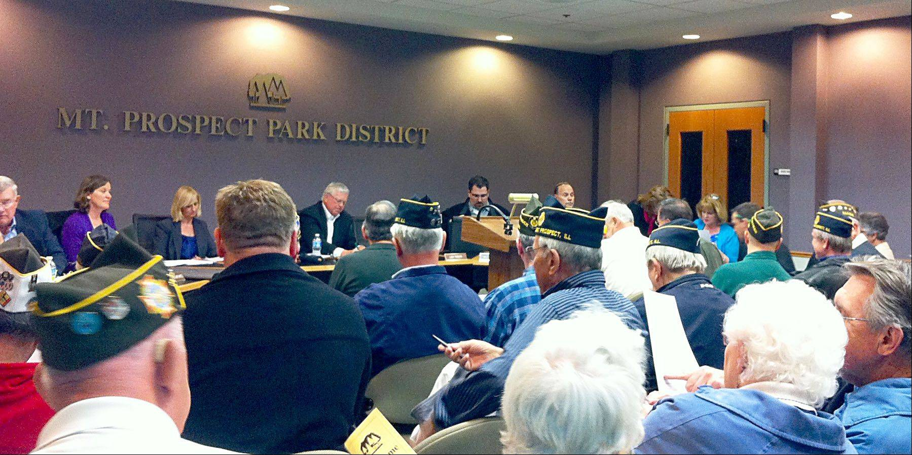 The Mt. Prospect Park District board meeting room was filled Wednesday for the vote on a permanent veterans memorial in town. Only those supporting the memorial spoke up at the meeting.