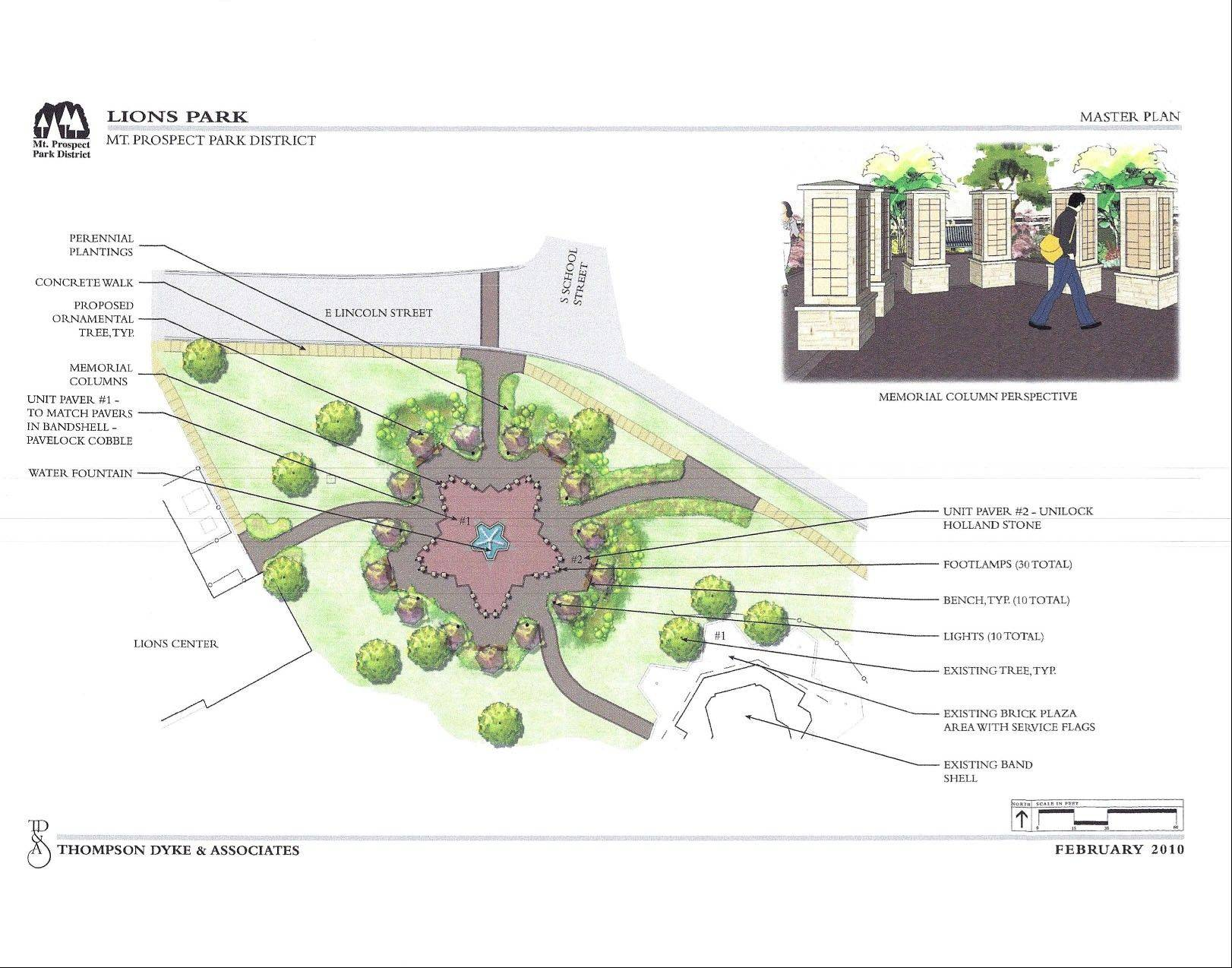 A rendering shows what the veterans memorial will look like in Mount Prospect.