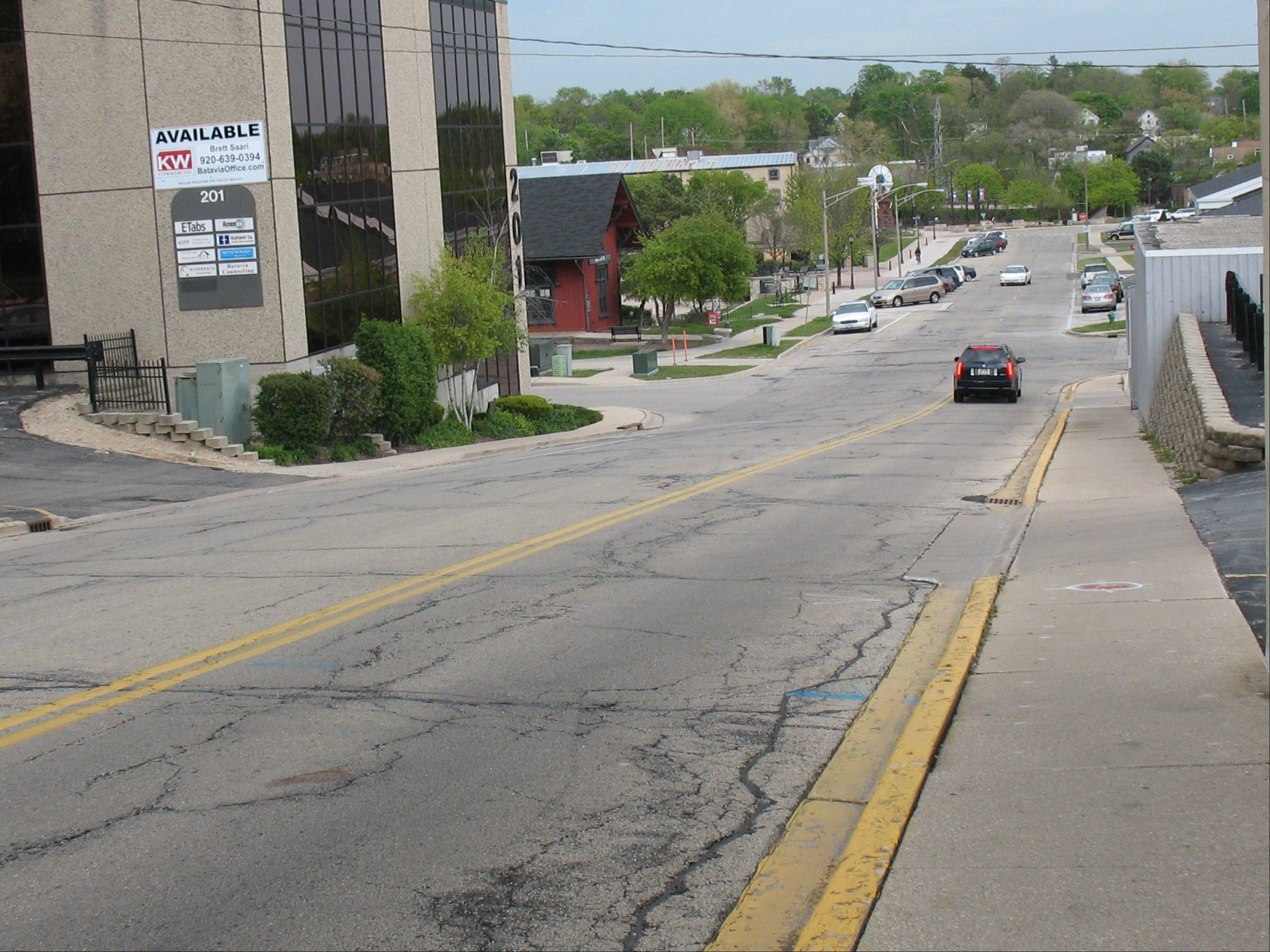 Batavia is due to start improving the streets, sidewalks and other features of Houston Street, seen here looking east from Batavia Avenue, as part of a multimillion-dollar downtown streetscape project.
