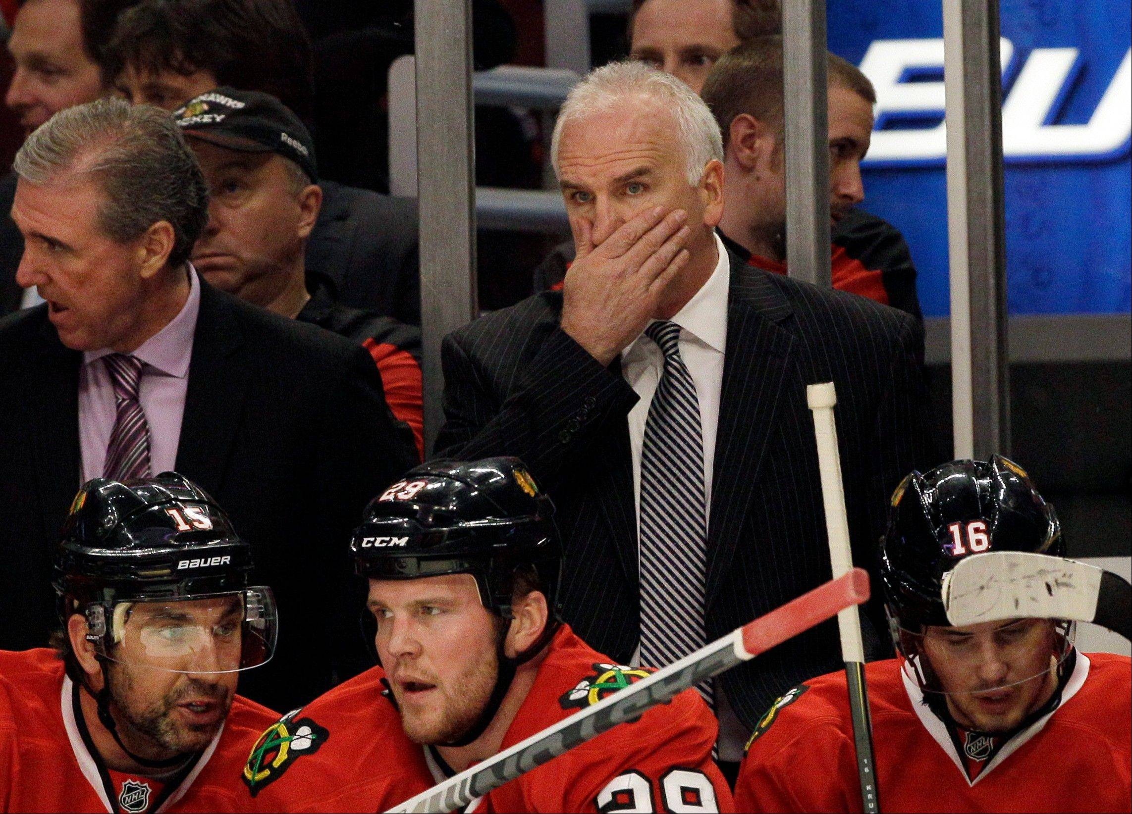 Blackhawks head coach Joel Quenneville said Wednesday that it wasn't more physical play that kept the Blackhawks from advancing in the playoffs. He likes the puck-possession play of his defenseman. Quenneville and general manager Stan Bowman expect to have some good discussions about the makeup of the team this summer.