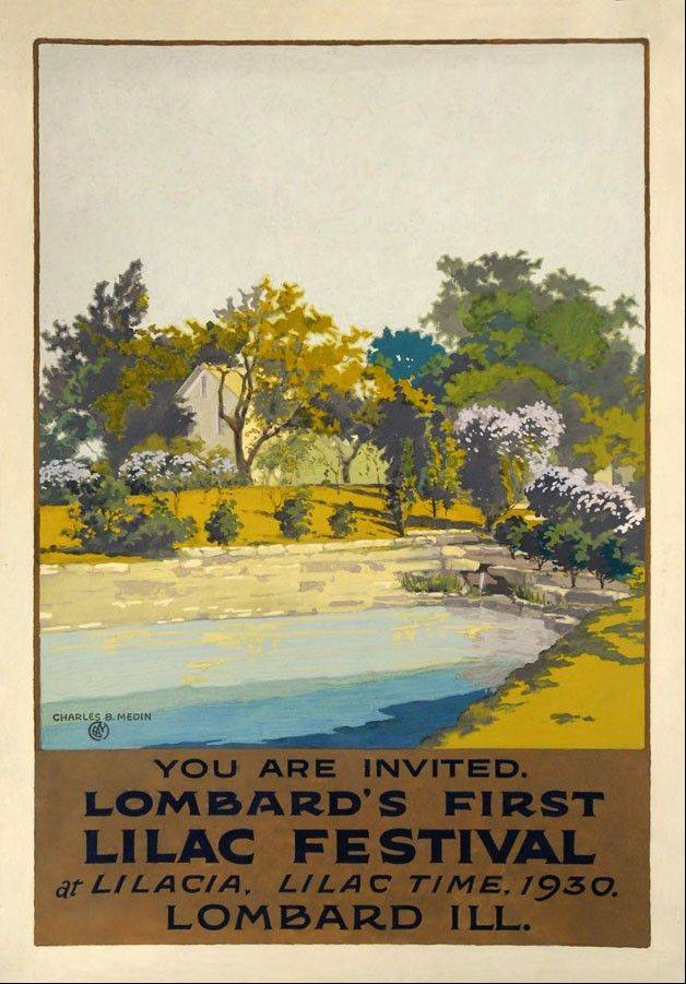 This poster, advertising the first Lilac Time in Lombard in 1930, is among the Art Deco posters by Charles Medin to be sold by the Lombard Historical Society during Lilac Times festivities this May. Posters will be available for $10 or $50, depending on size.