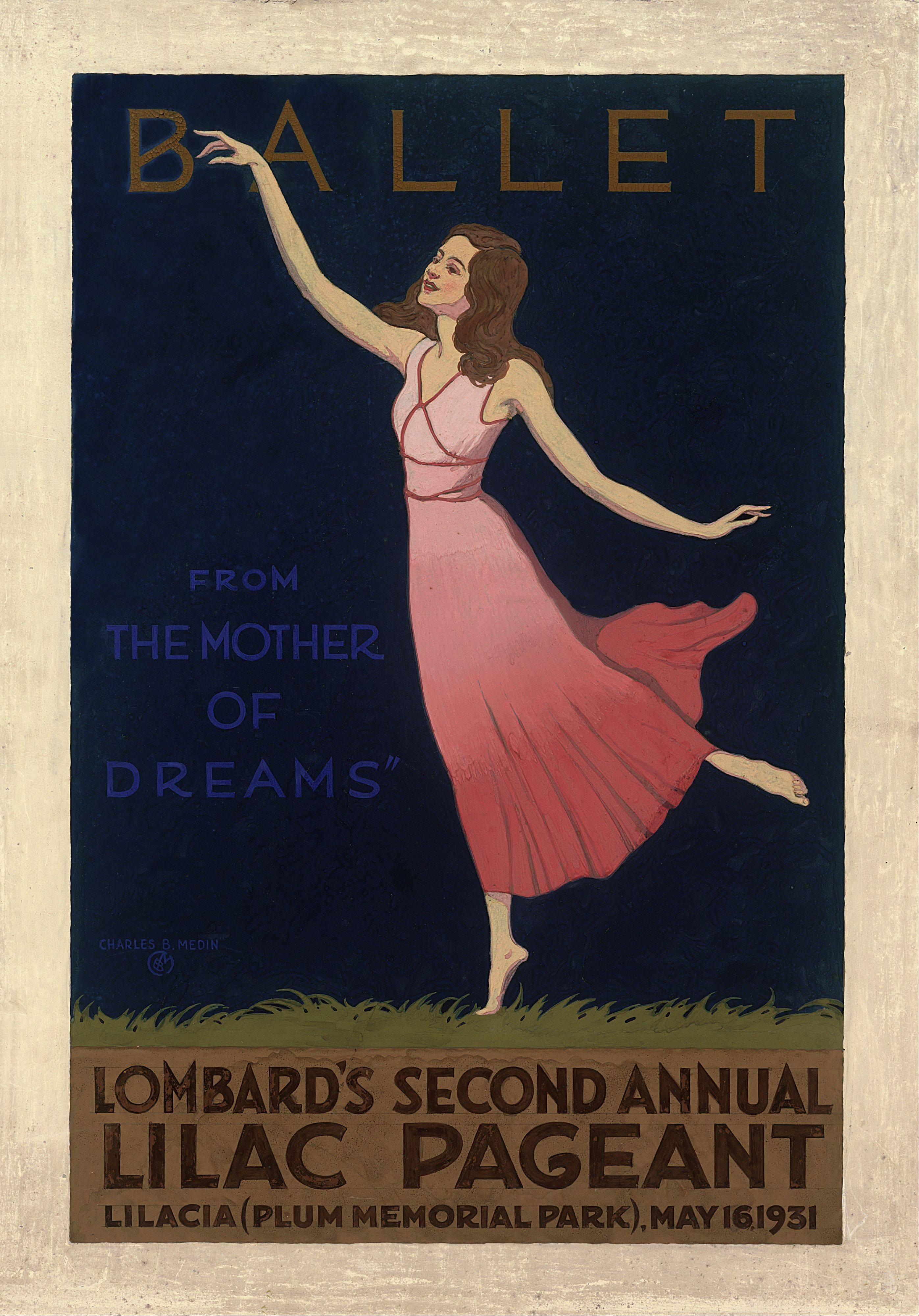 Artist Charles Medin painted this poster and four others in the Art Deco style to advertise early Lilac Time festivities in the 1930s. The Lombard Historical Society is selling the posters for $10 or $50, depending on the size, during Lilac Time from May 5 to 20.