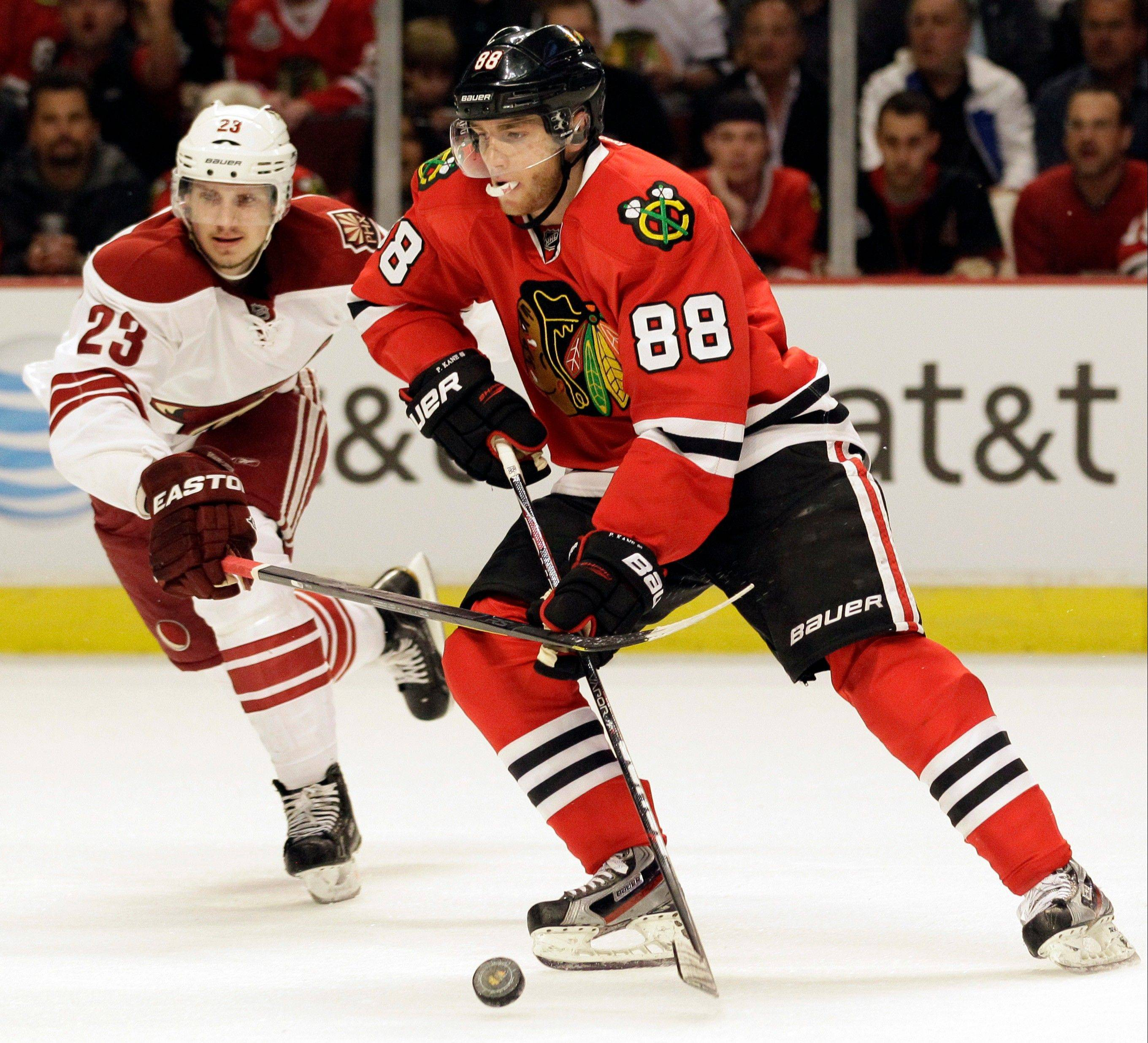 Patrick Kane belongs on the right wing and not at center, according to the Daily Herald's Tim Sassone.