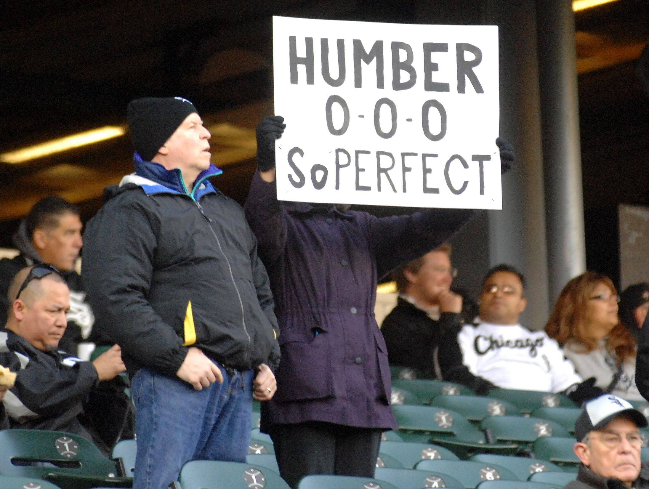 A fan honors Chicago White Sox starting pitcher Philip Humber's perfect game before Thursday's game at U.S. Cellular Field in Chicago.