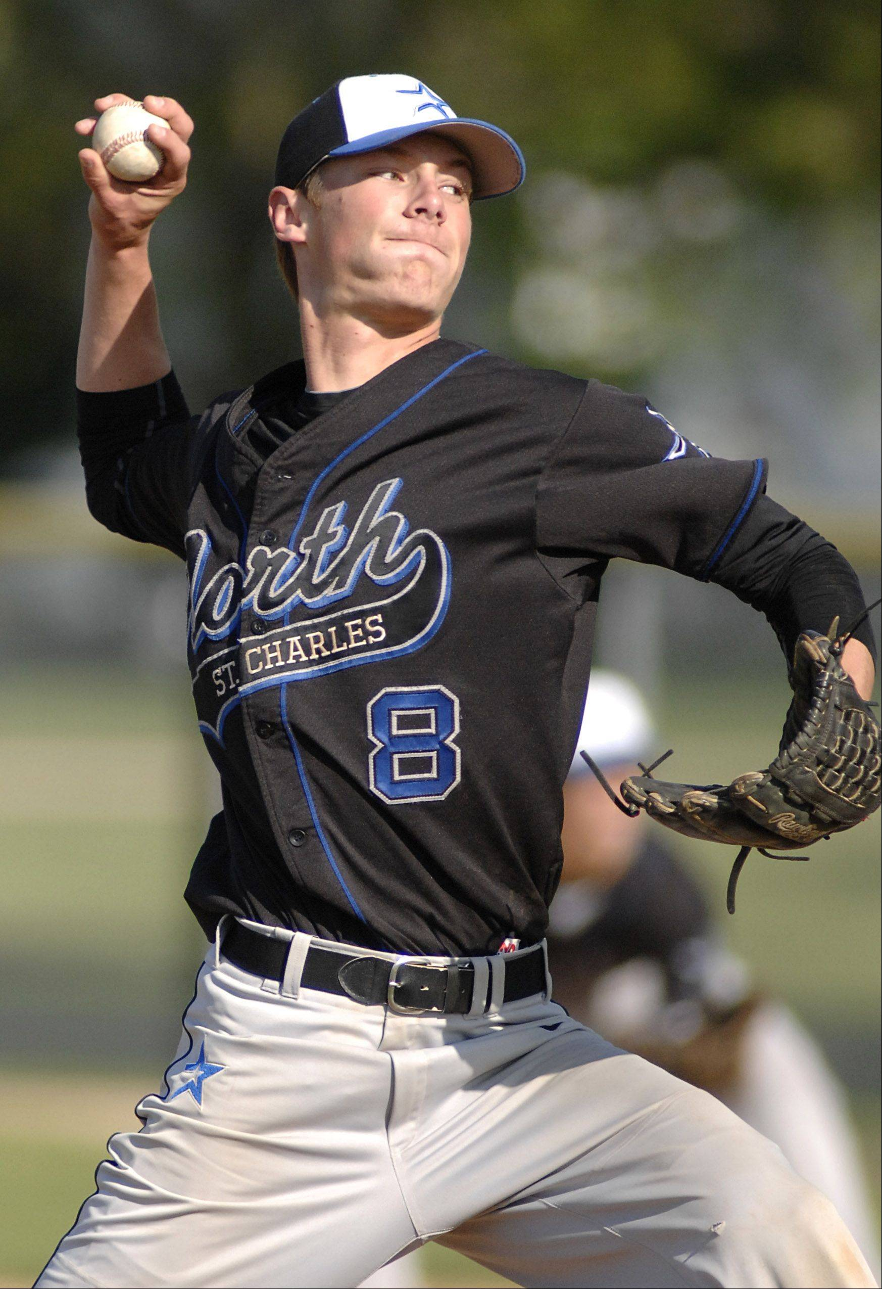 St. Charles North pitcher Jake Johansmeier on Thursday.