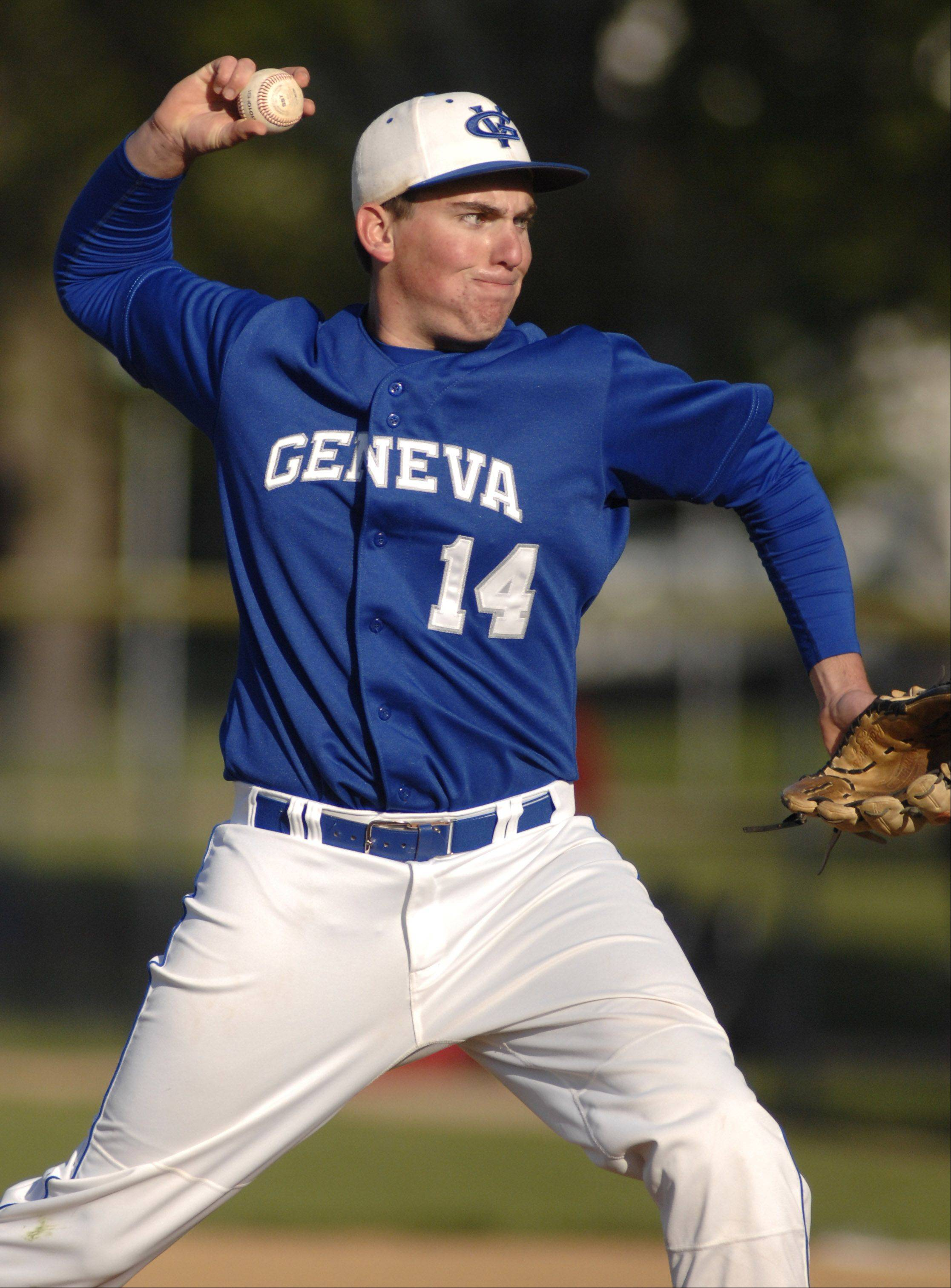 Geneva's Jeff Konrad pitches in the sixth inning on Thursday, April 26.