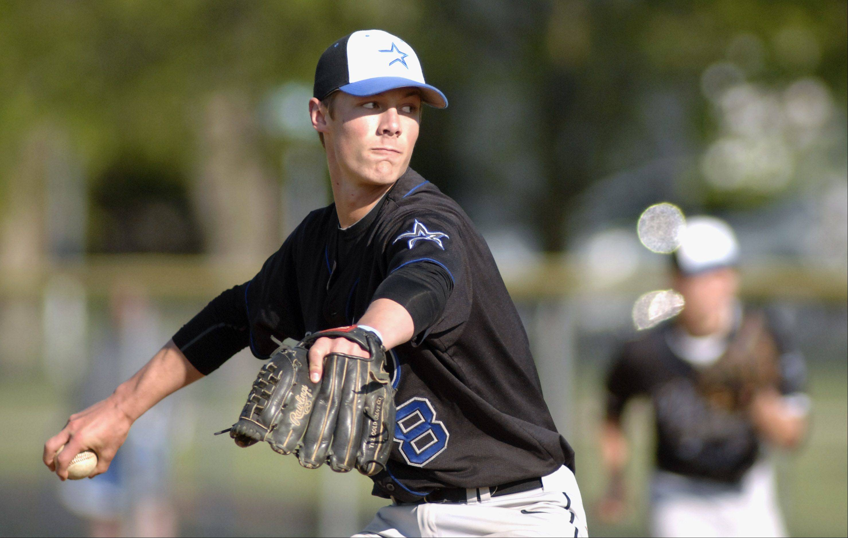 Laura Stoecker/lstoecker@dailyherald.comSt. Charles North pitcher Jake Johansmeier on Thursday, April 26.