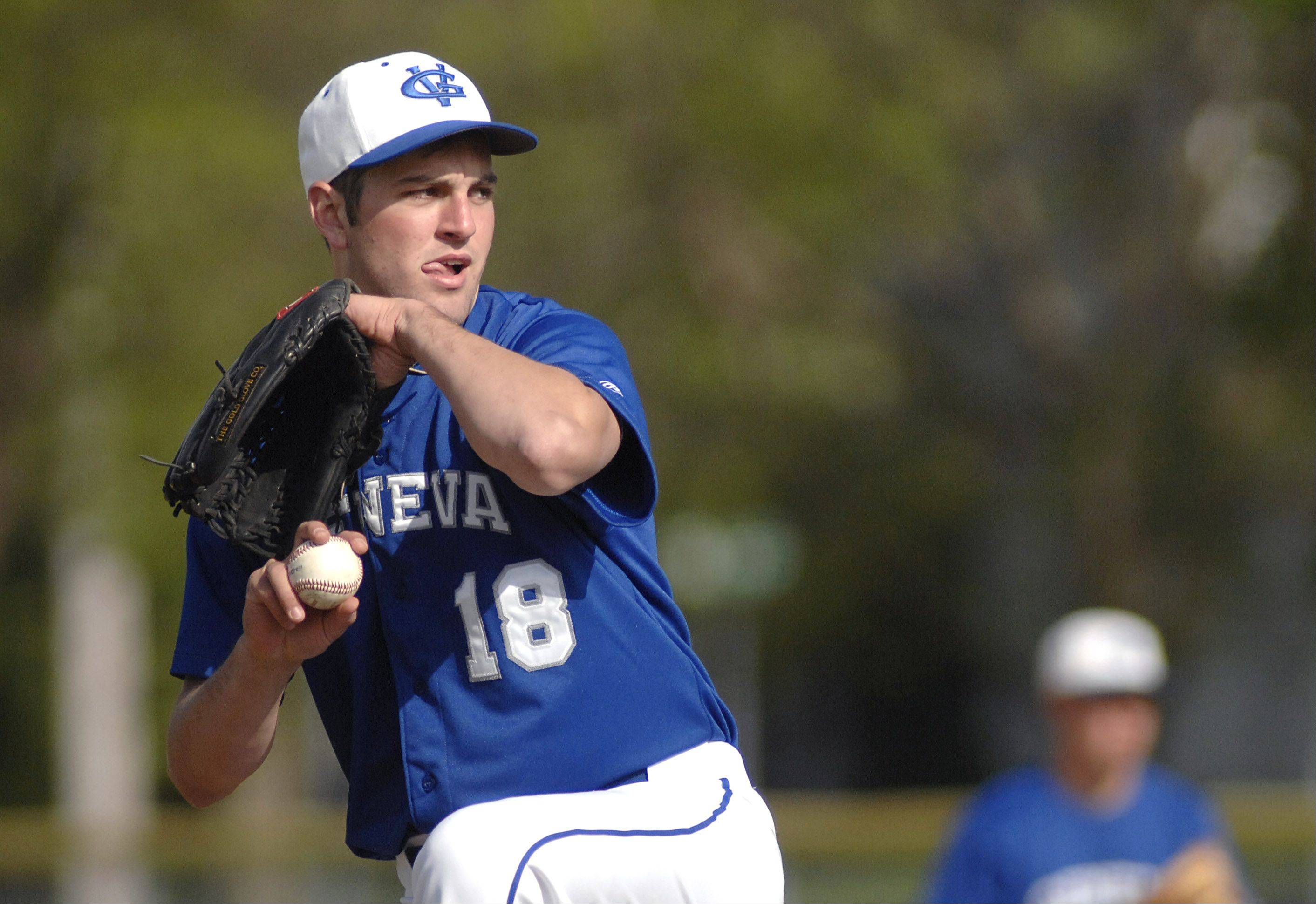 Geneva pitcher Drew White on Thursday, April 26.