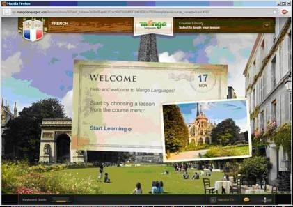 The screen display for Mango Languages, a program now available through Waukegan Public Library which offers courses in 39 foreign languages as well as lessons in English for speakers of 15 other languages.