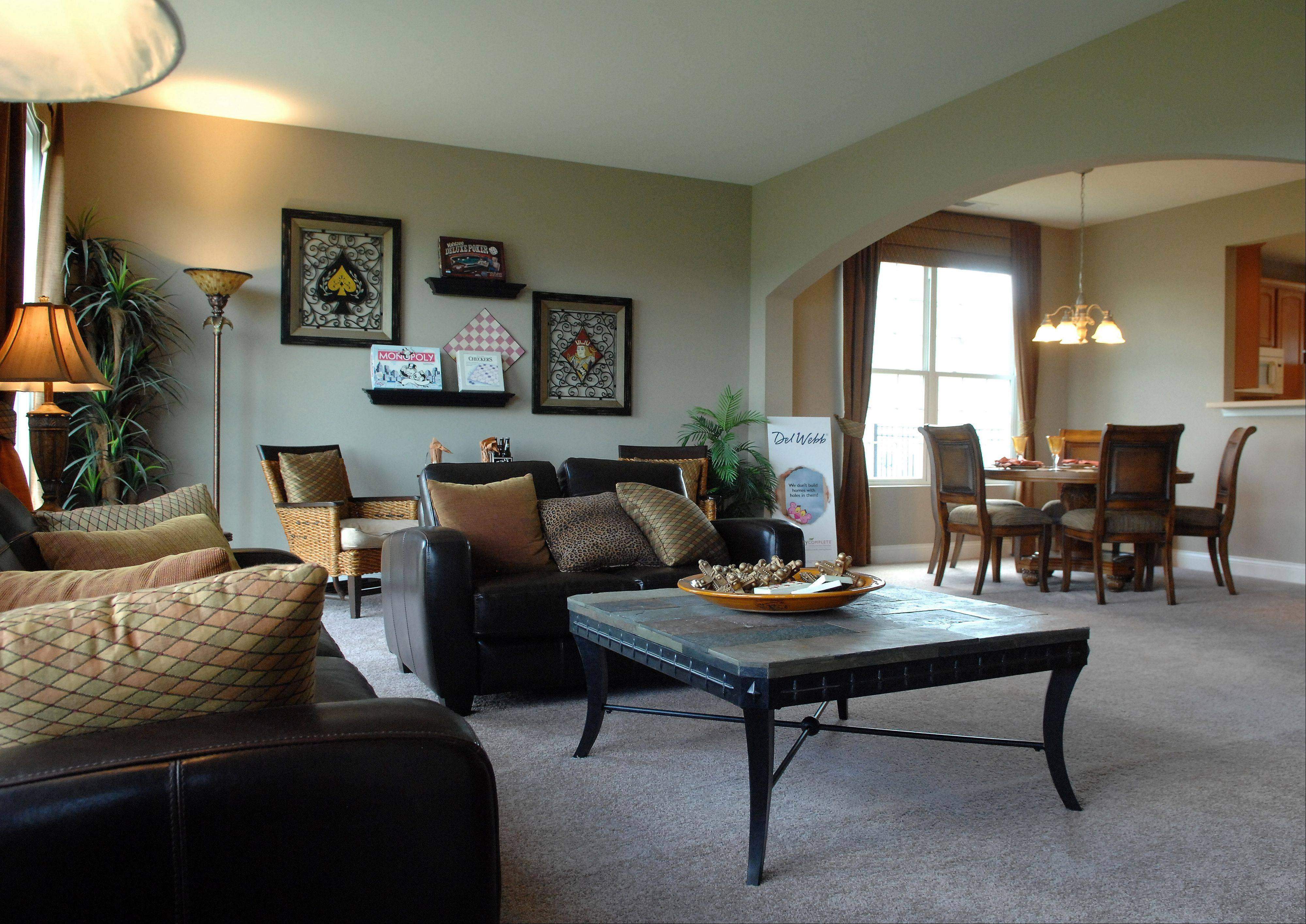 The large living and dining area of the Monroe model, now available in the Lakeshore series at Pulte Homes' Edgewater community in Elgin.