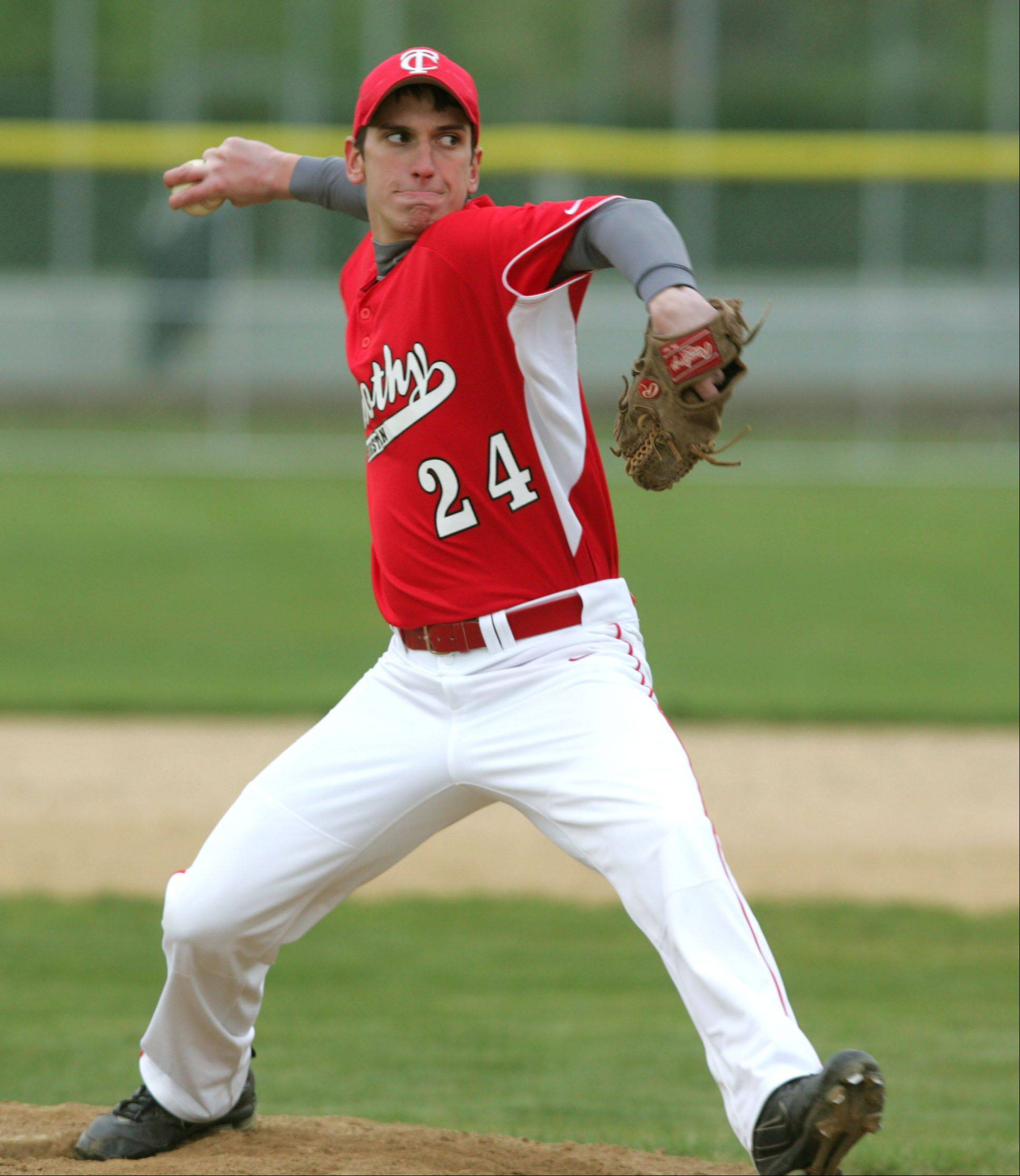 Timothy Christian pitcher Phillip Stanton pitches against Glenbard South, during boys baseball action in Elmhurst.
