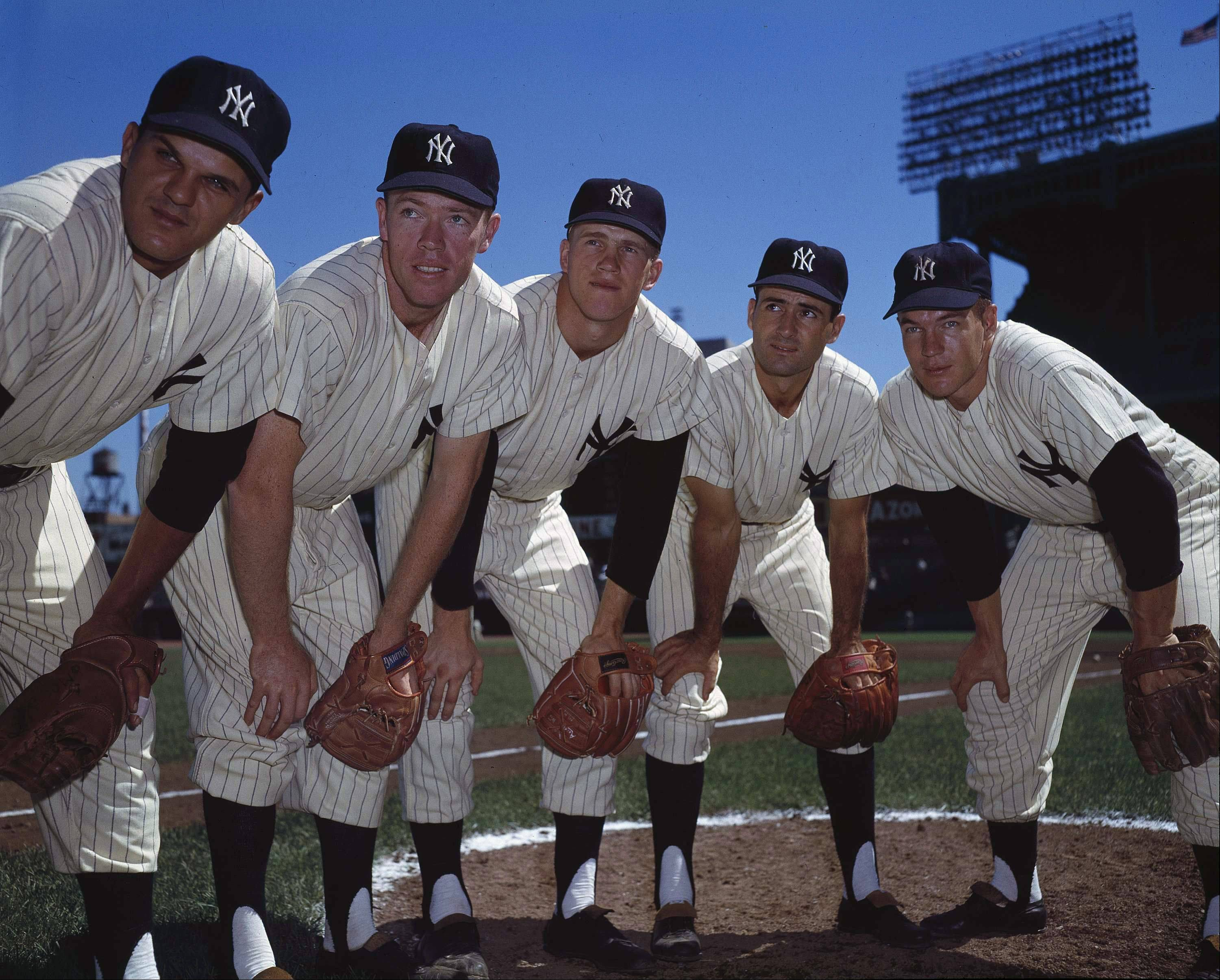 From left to right Bill Skowron, Gil McDougald, Tony Kubek, Gerry Coleman; Andy Carey, from the New York Yankees are shown in this Sept. 5, 1957 photo.
