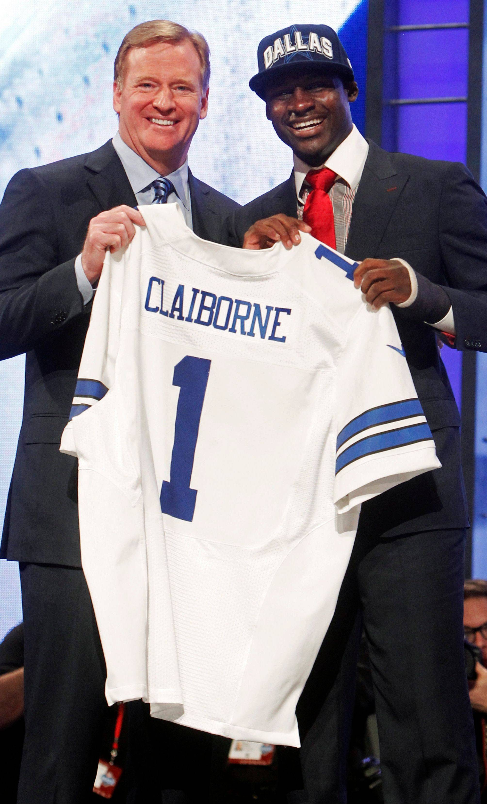 LSU cornerback Morris Claiborne with NFL Commissioner Roger Goodell Thursday after being selected as the sixth pick overall by the Dallas Cowboys in the first round of the NFL Draft at Radio City Music Hall.