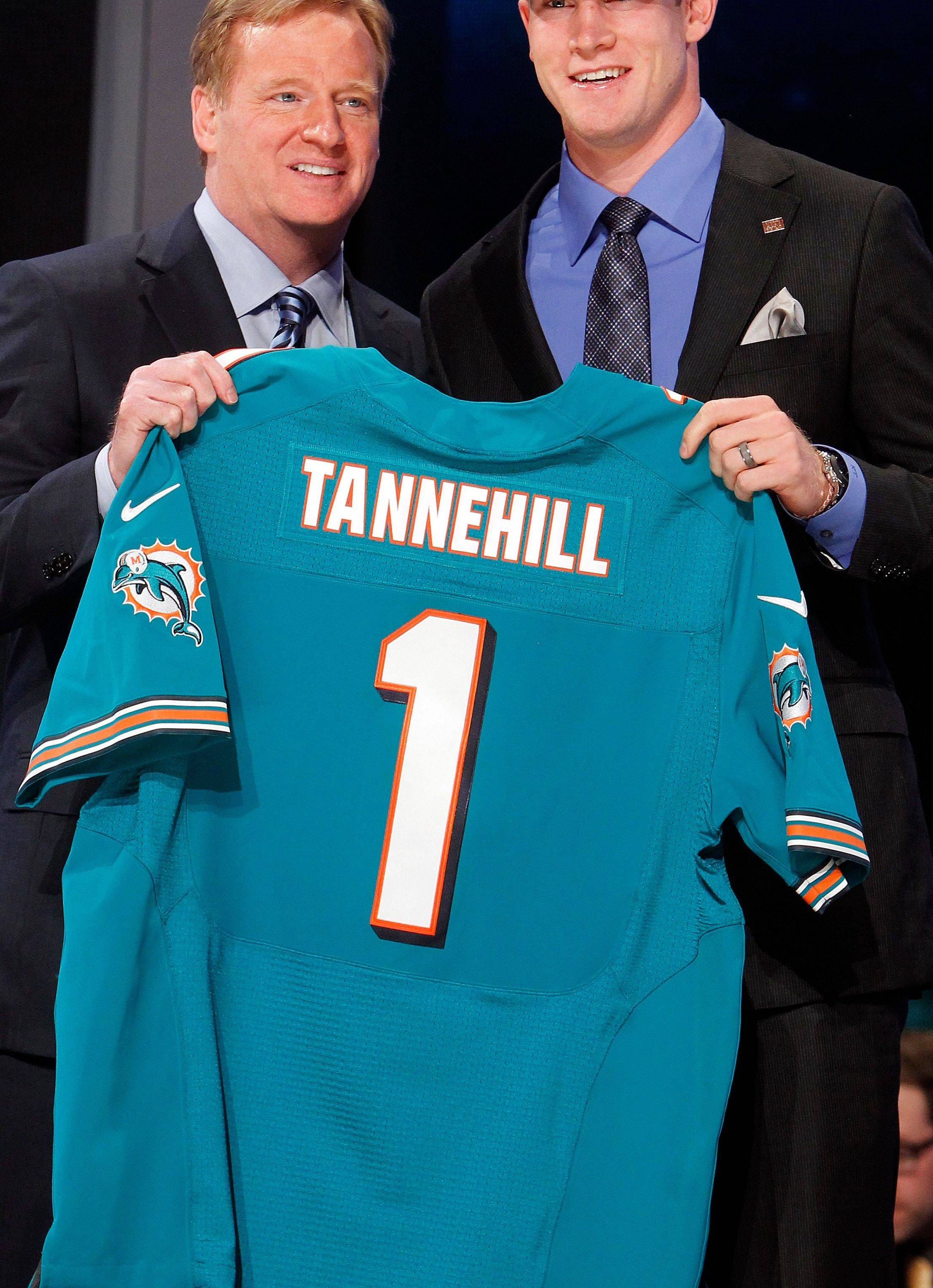 Texas A&M quarterback Ryan Tannehill with NFL Commissioner Roger Goodell Thursday after being selected as the eighth pick overall by the Miami Dolphins in the first round of the NFL football draft at Radio City Music Hall.
