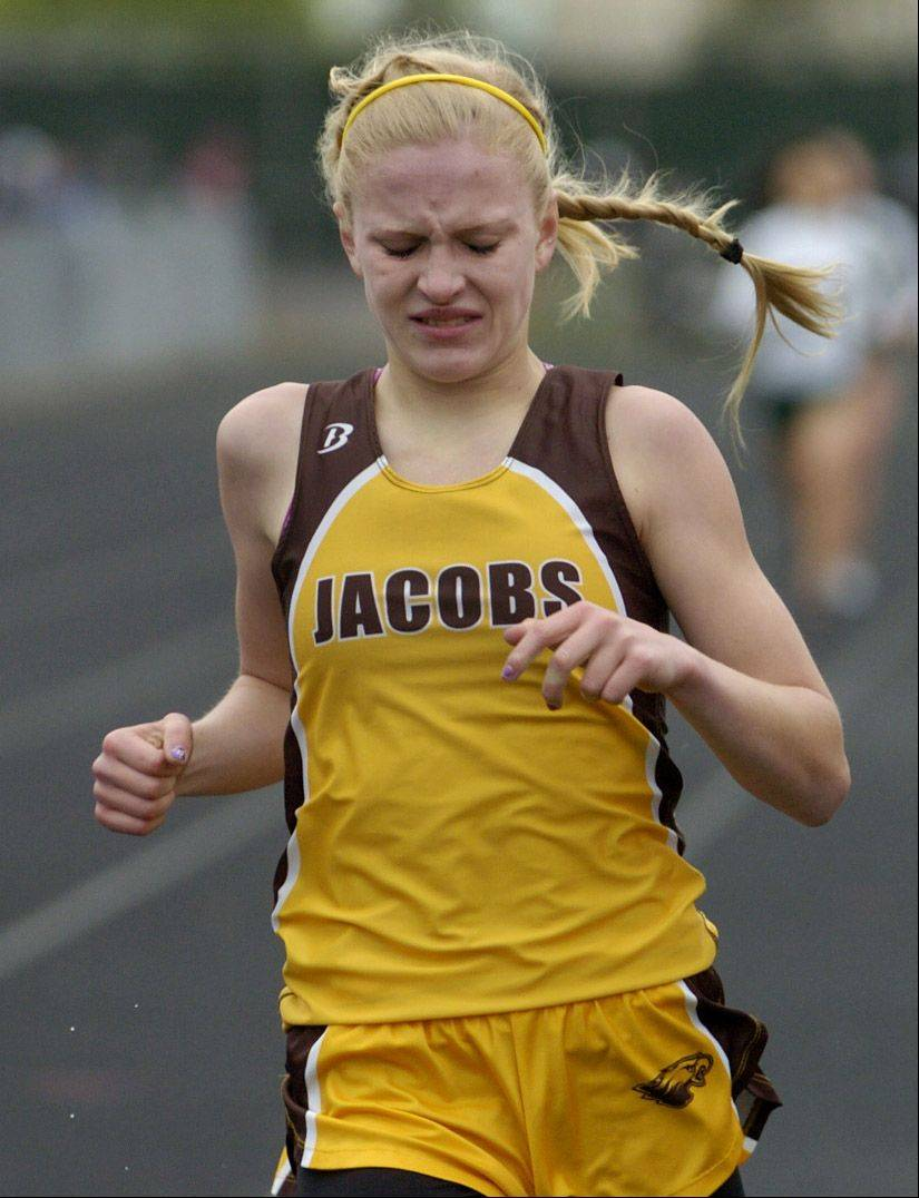 Lauren Vanvlierberger of Jacobs finishes third in the 800-meter run at the Palatine Relays on Saturday.