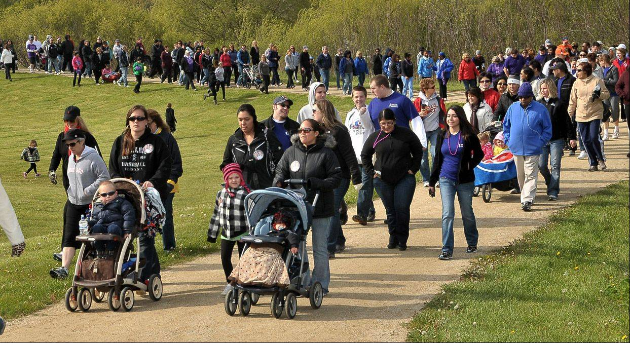 "Roughly 500 people walked in the March of Dimes' ""March For Babies"" 5K walk Sunday at Old School Forest Preserve in Libertyville. The walk, held at several locations around the suburbs, raised money to help prevent premature birth, birth defects and infant mortality."