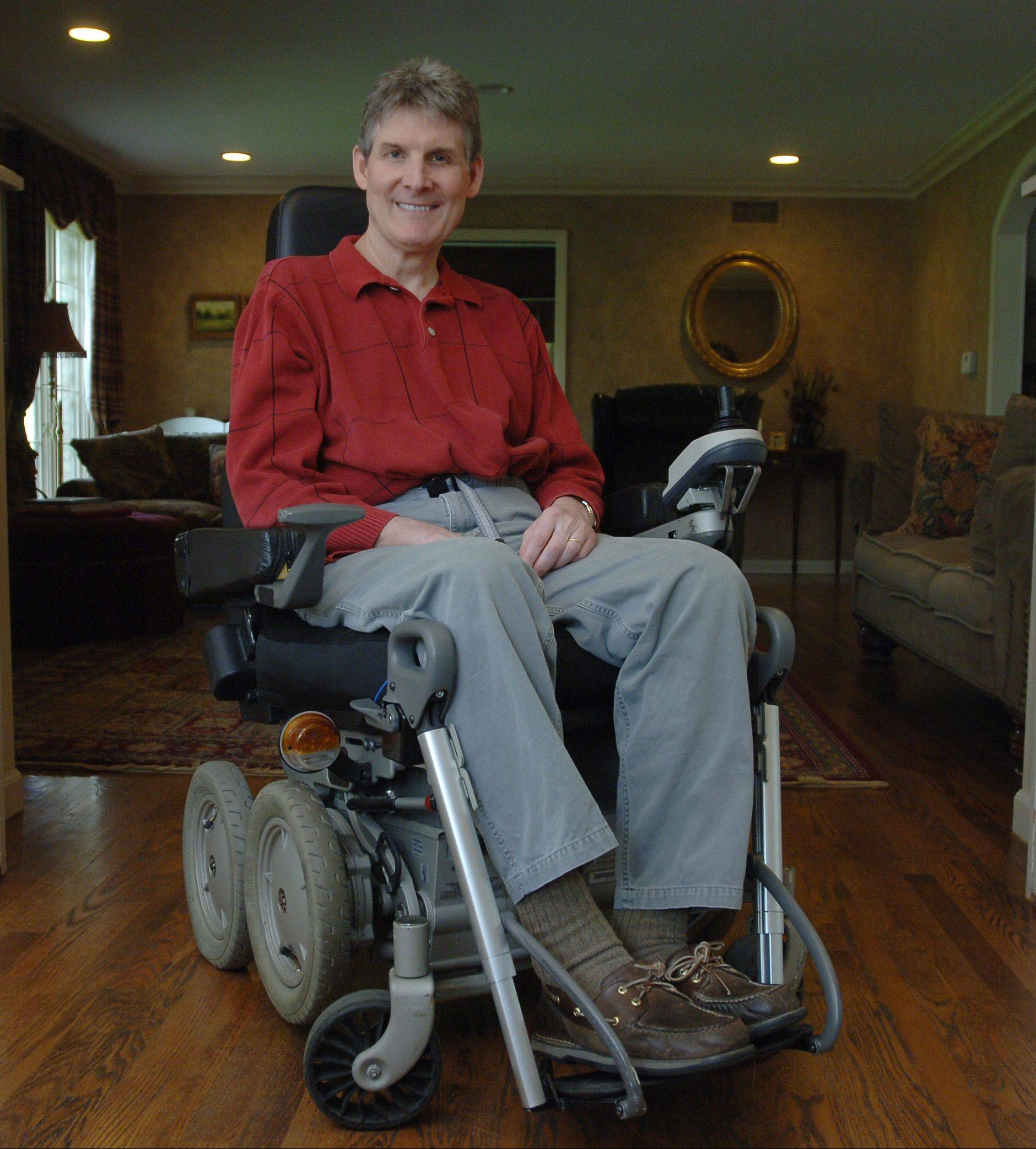 While he says he appreciates his iBOT wheelchair with Segway technology that allows him to go up stairs, Lincolnshire's Bob Gregory is hosting a walk on May 6 to raise funds to find a cure for multiple sclerosis and get him back on his feet.