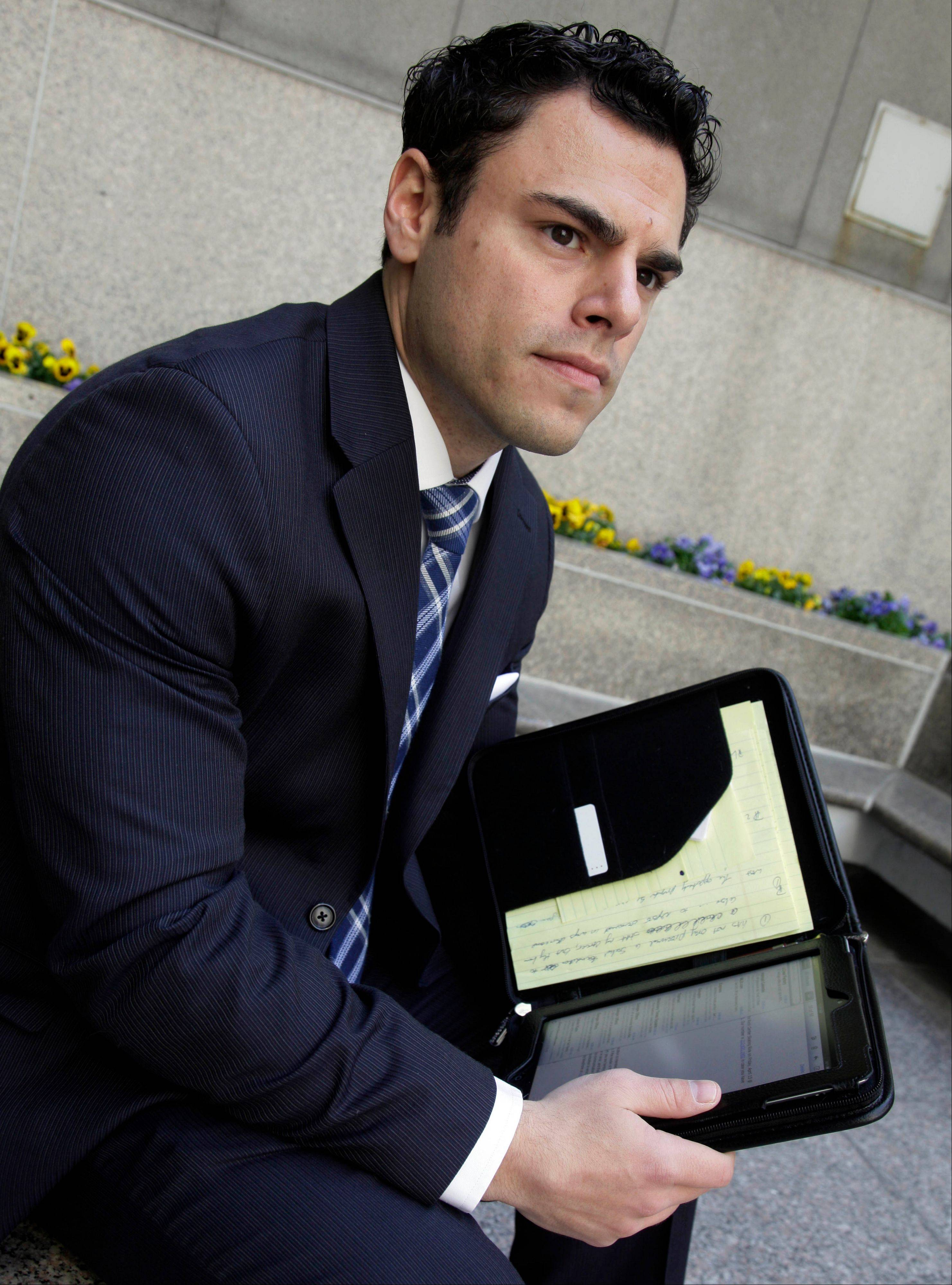 "Matthew Pizzo, an Air Force veteran, who has law and business degrees and wants to find work in financial or business areas, keeps his resume on his iPad in New York. One potential employer, he says, surprised him by saying: '""You're a little old to try to start working in the banking industry.'"" The 29-year-old, he suggested, might be uncomfortable taking orders from a younger boss. Pizzo senses trepidation, too, from prospective bosses, who may be leery of his wartime experience. ""I think they're probably concerned, or at least it's in the back of people's minds that I won't be able operate in their landscape, maybe because of things I've seen."""