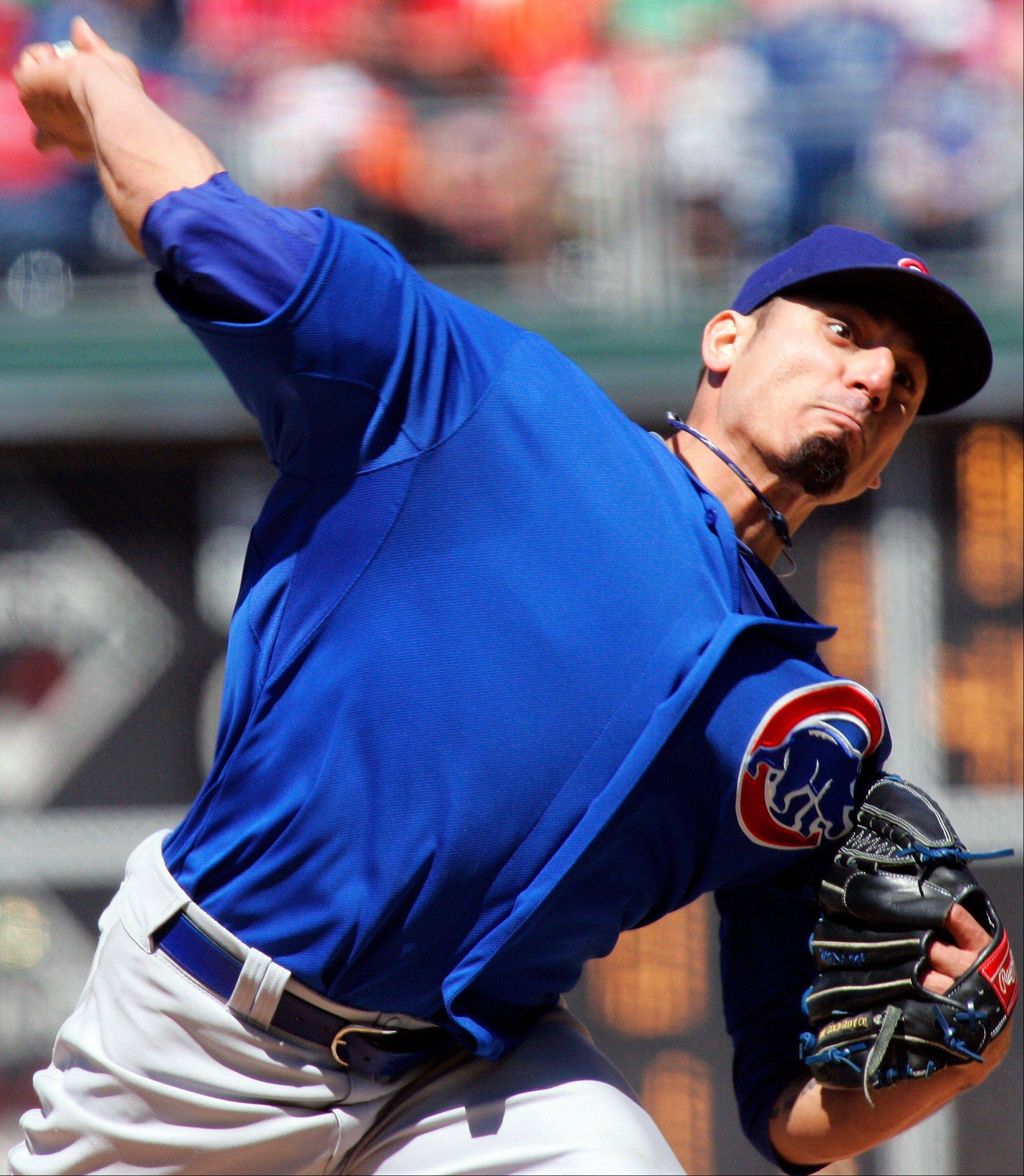 Chicago Cubs' Matt Garza throws in the third inning Sunday against the Philadelphia Phillies in Philadelphia.