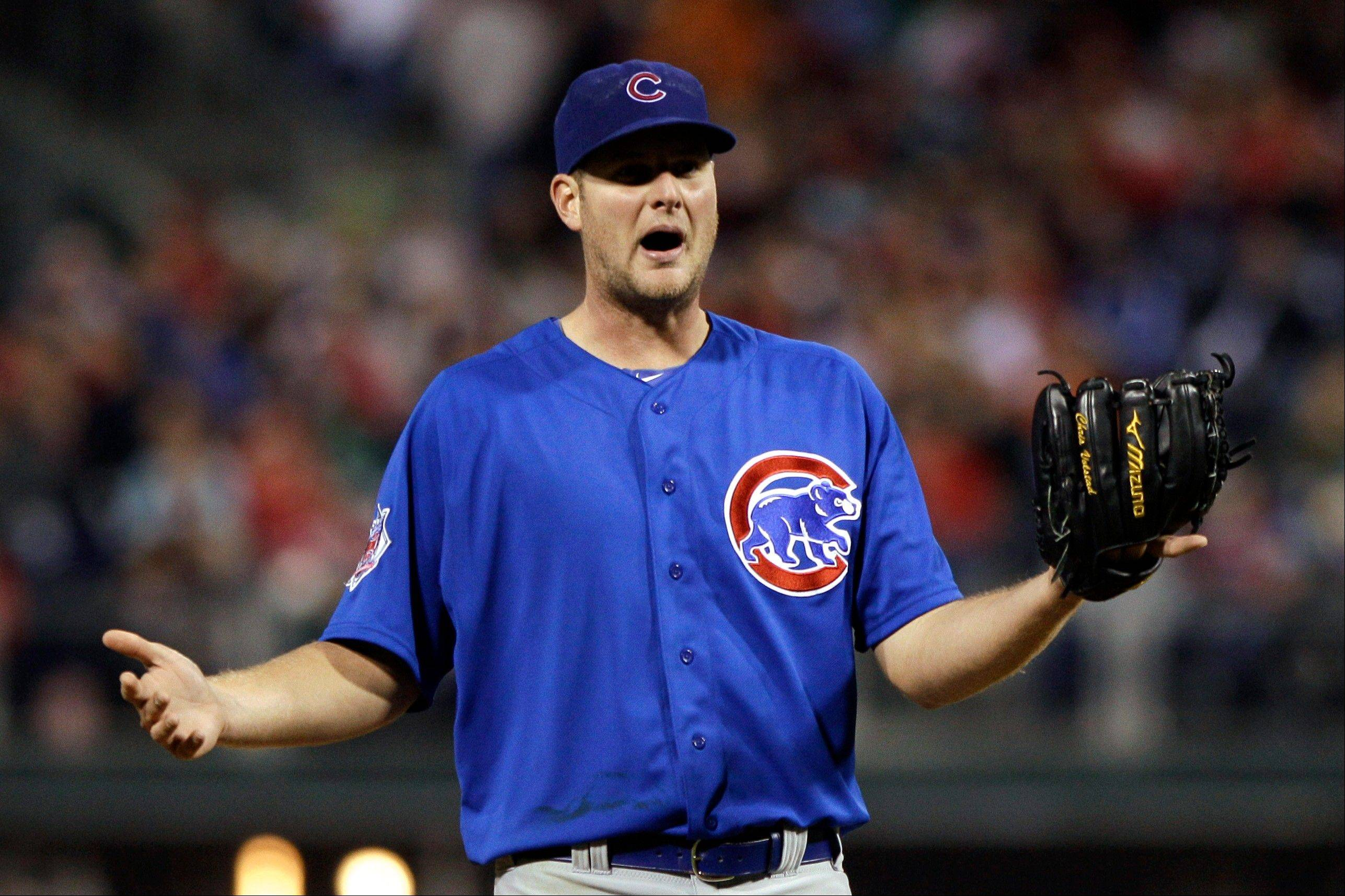 Chicago Cubs starting pitcher Chris Volstad reacts after being called for a balk in the sixth inning Monday inb Philadelphia.