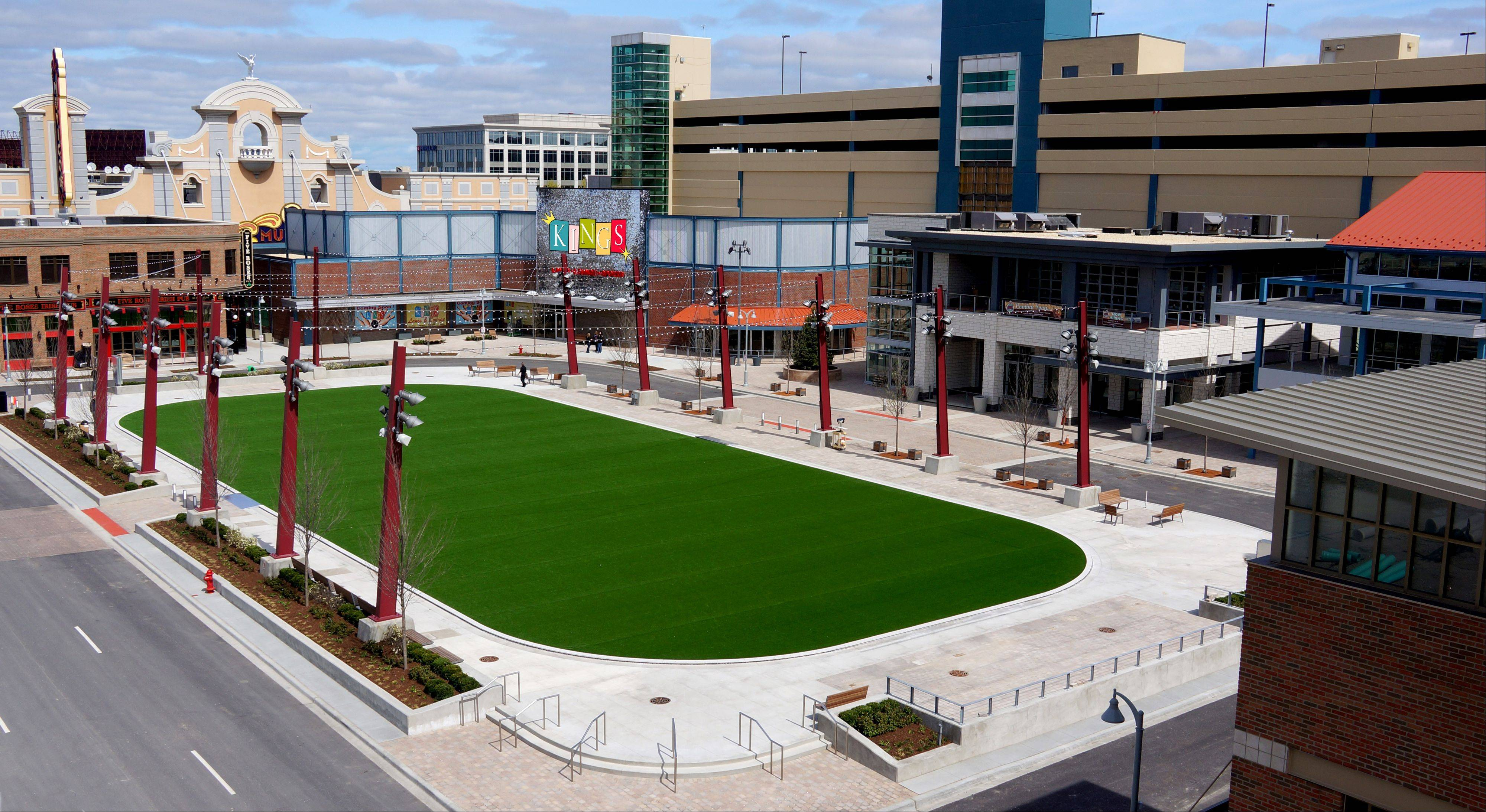 An overview of The Park at Rosemont entertainment district. The first venue, the Five Roses Pub, named in honor of former mayor Don Stephens' five decades of service to the village, opened April 11. Rosemont officials announced Tuesday they have reached a deal with MB Financial Bank to sell naming rights to the district for $3 million.