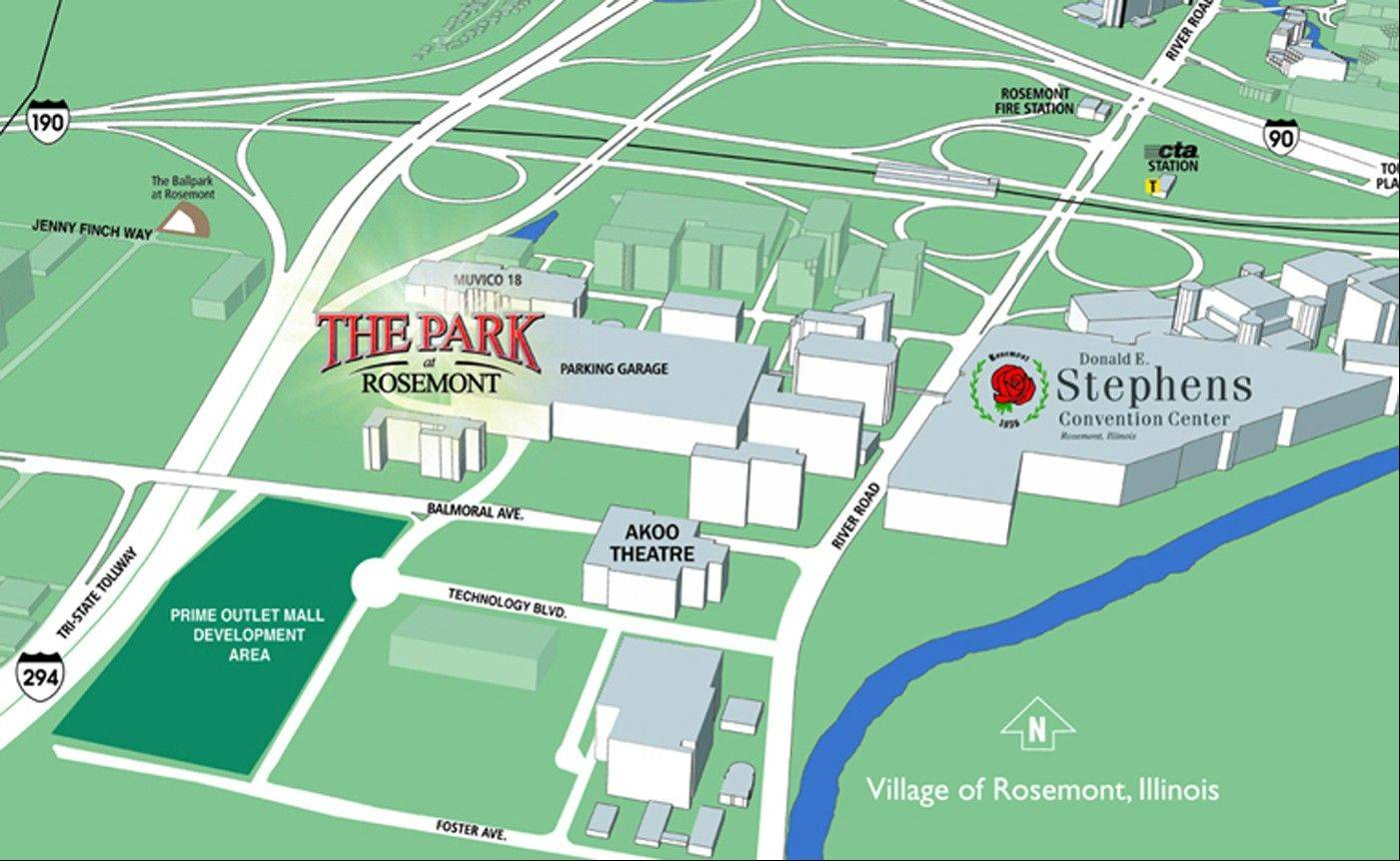 A site map of The Park at Rosemont entertainment district. Rosemont officials announced Tuesday they have reached a deal with MB Financial Bank to sell naming rights to the district for $3 million.