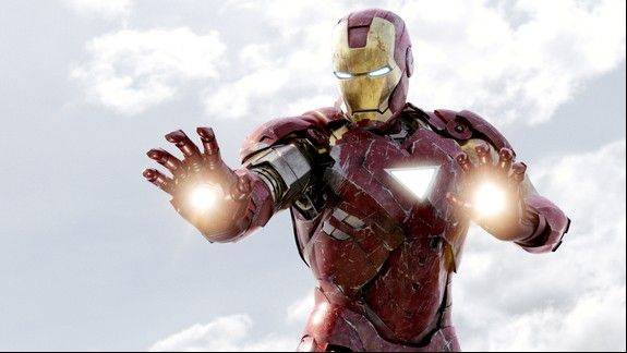 "Iron Man (Robert Downey Jr.) blasts into action to save the world in ""Marvel's The Avengers."""