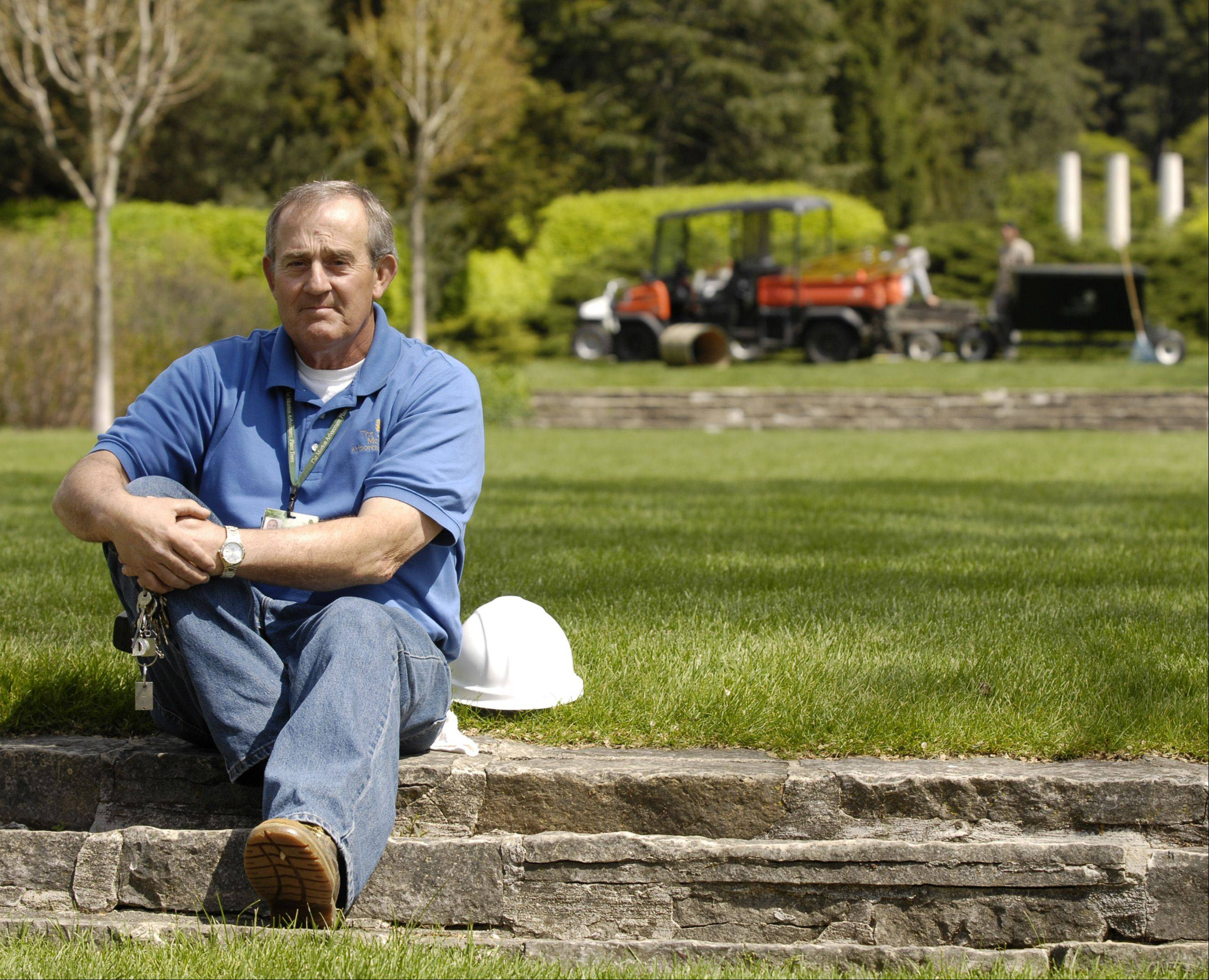 The changing seasons keep Doug Monroe busy in his job as a construction groundsman at the Morton Arboretum in Lisle. Now 64, he started working at the outdoor museum when he was 14 and has lived on the grounds nearly all his life.