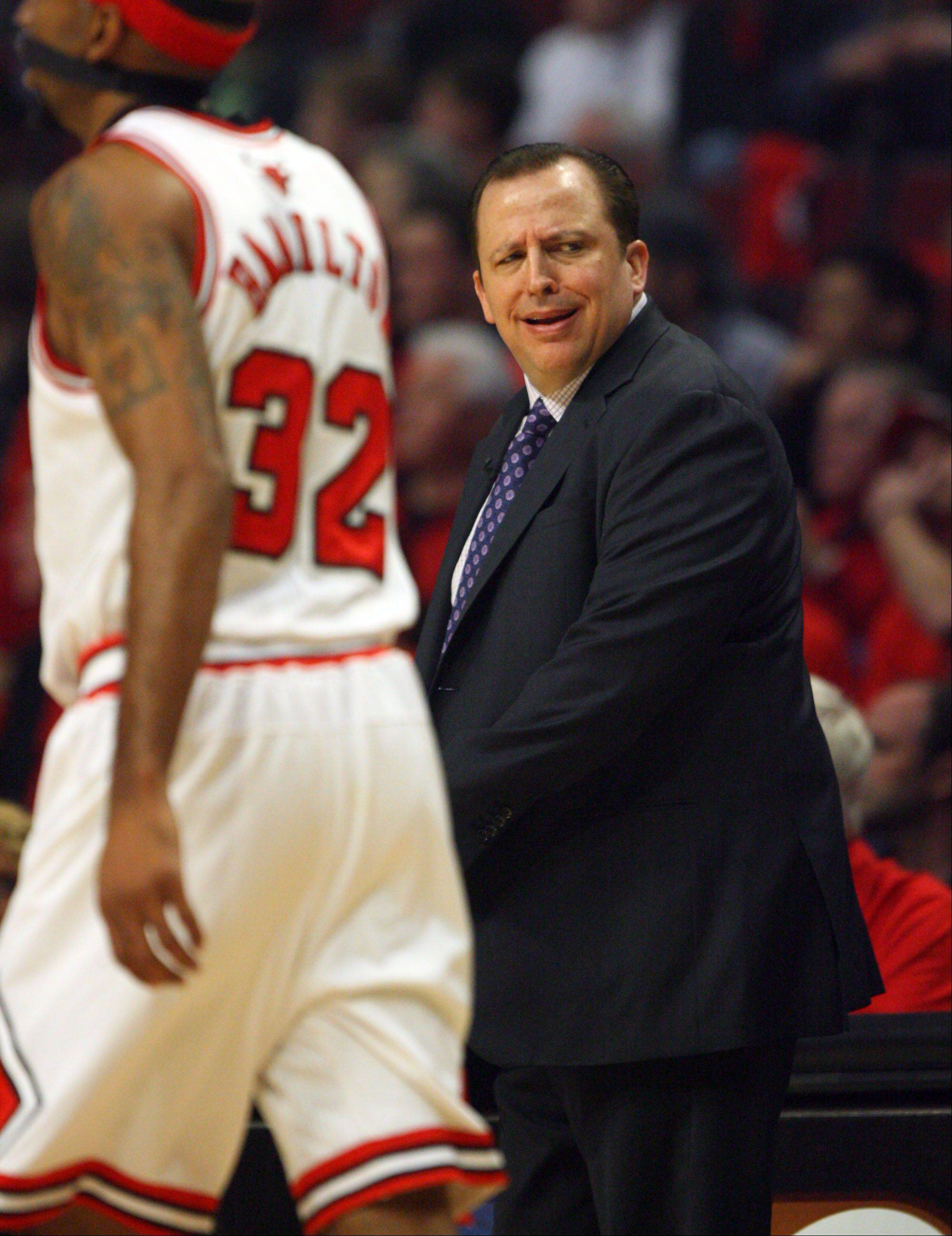 Chicago Bulls' head coach Tom Thibodeau appears frustrated.