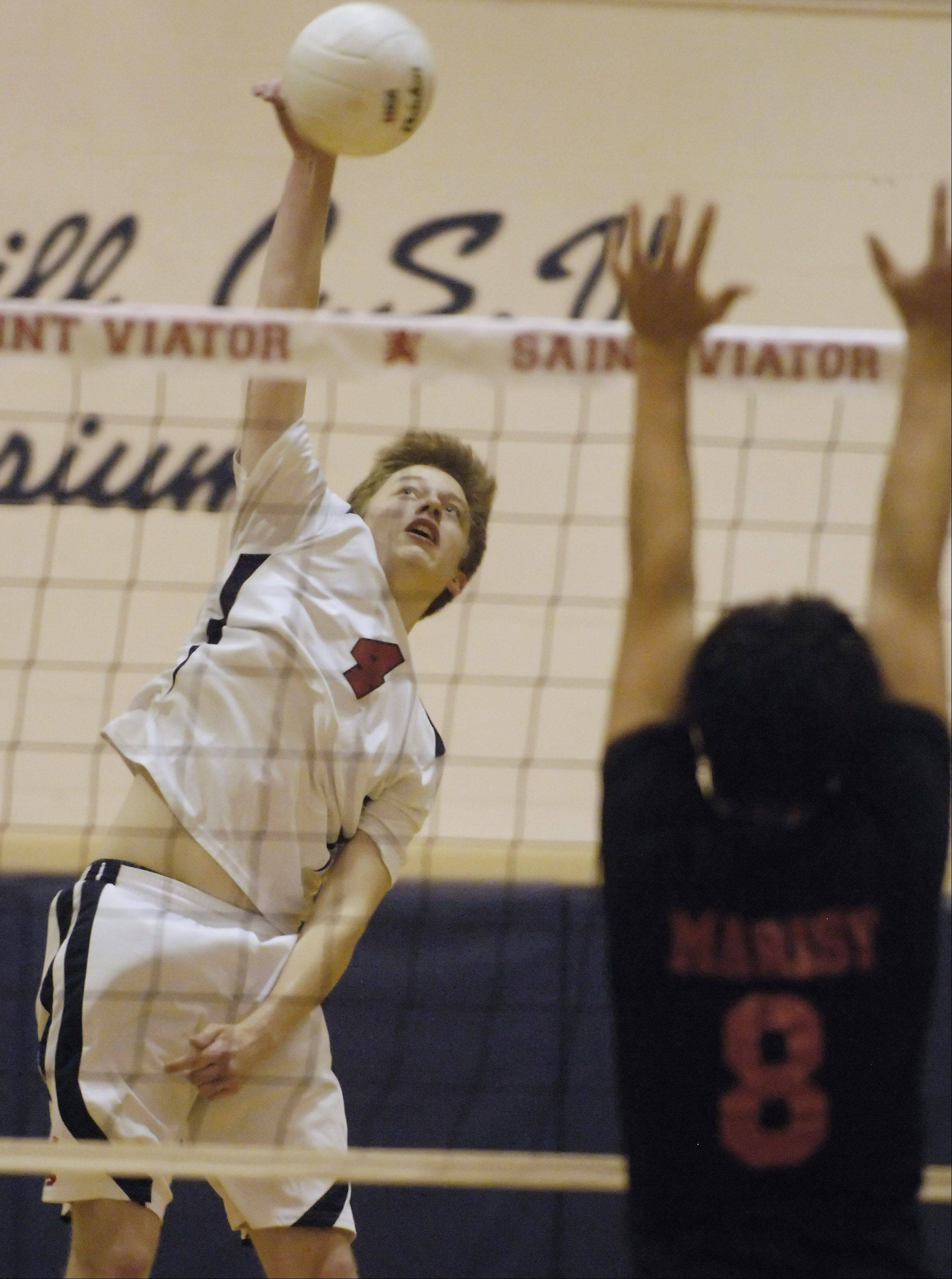 St. Viator's Matt Michalik attempts a kill during the Lions' stirring victory over visiting Marist on Tuesday.
