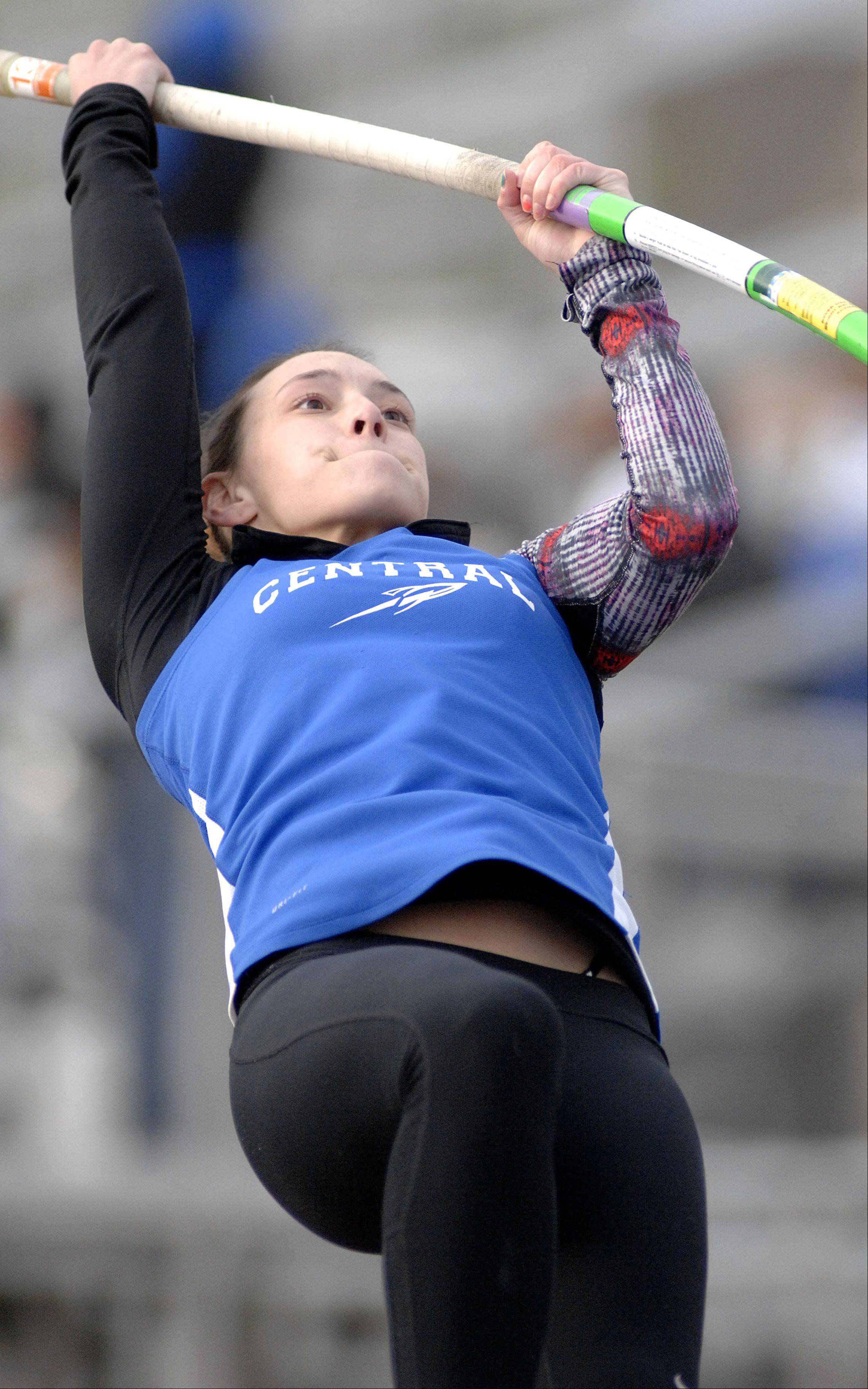 "Burlington Central's Autumn Conn attempts 11' 6"" in the pole vault final on Friday."