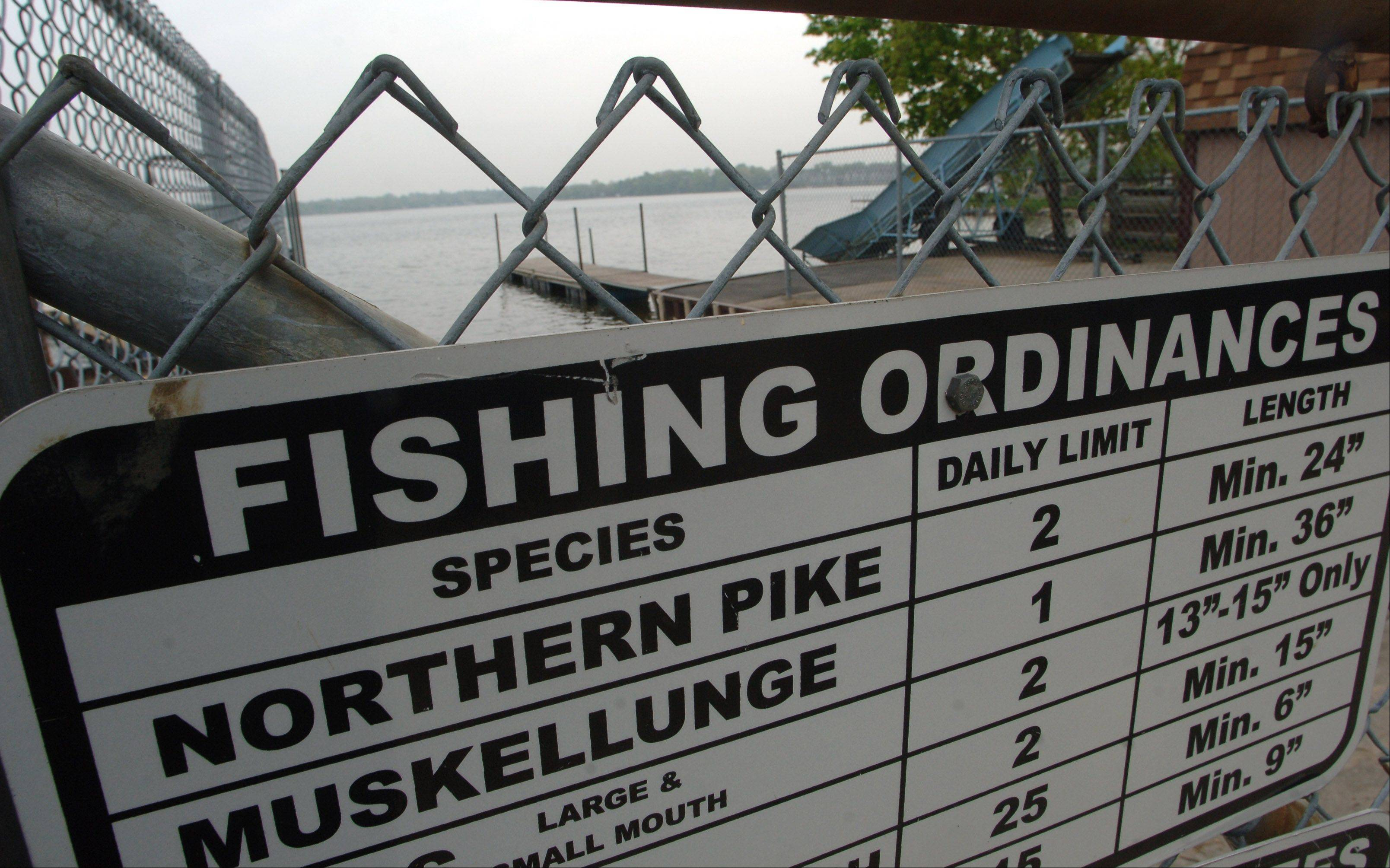 Wauconda trustees approved Tuesday a series of more restrictive fishing regulations for Bangs Lake. This sign clearly states the current regulations posted at a boat dock on the west side of the lake.
