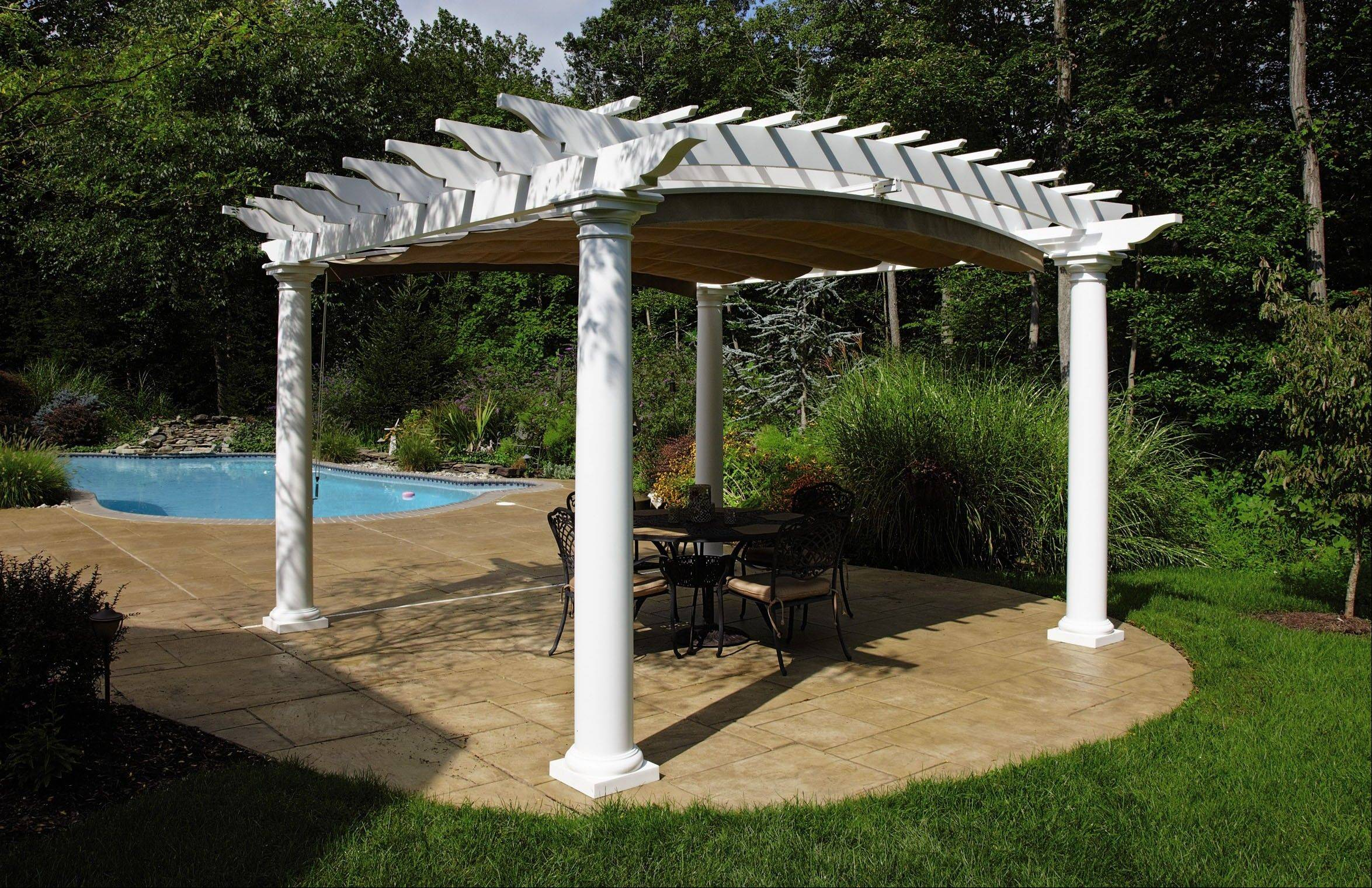 Walpole Woodworkers builds an arched a plastic and fiberglass pergola with optional shade.
