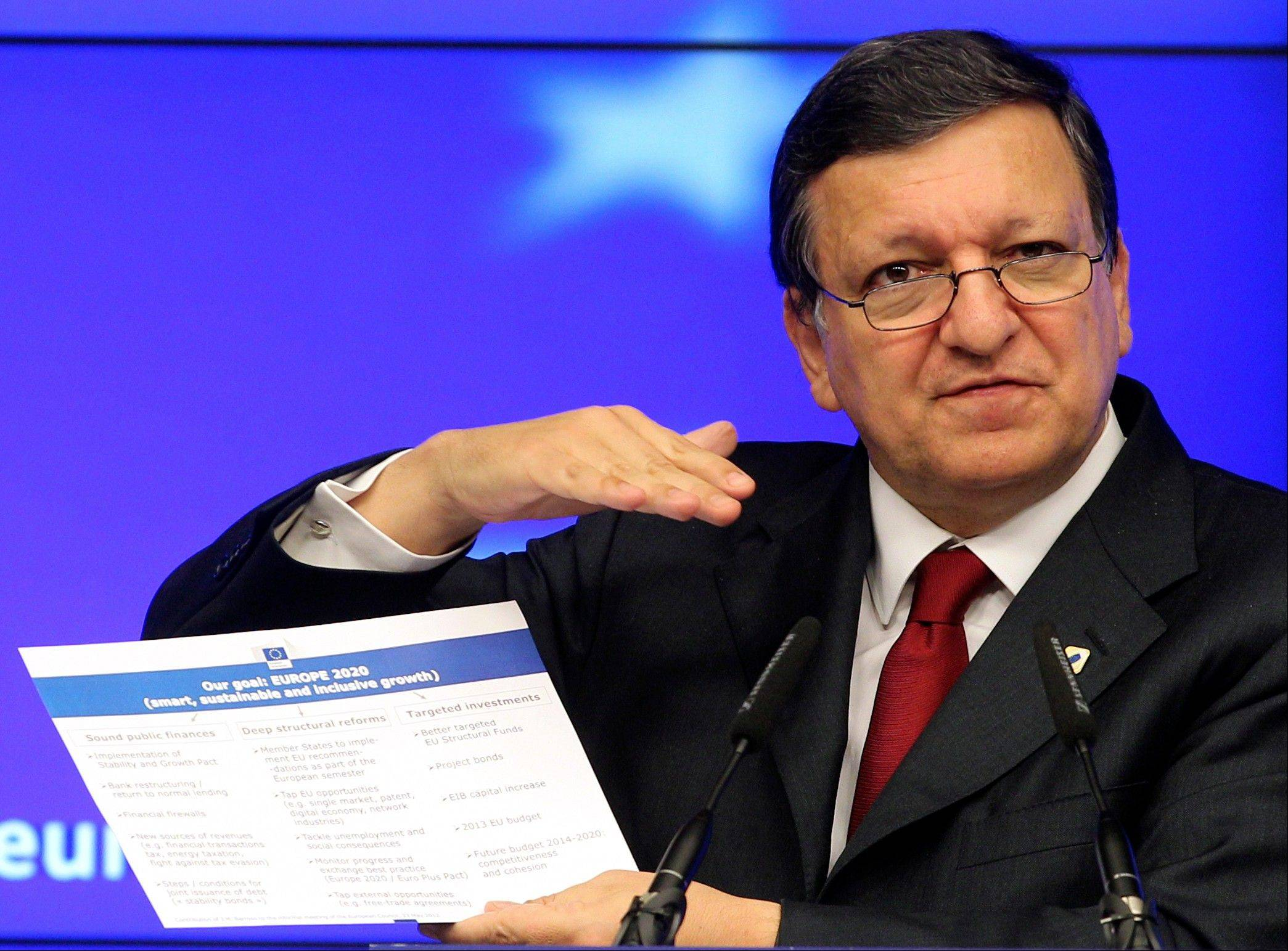 European Commission President Jose Manuel Barroso addresses the media at the end of an EU summit, at the European Council building in Brussels. The leaders of the 27 countries that make up the European Union met to try and find a way to keep the debt crisis in Europe from spiraling out of control and promote jobs and growth.