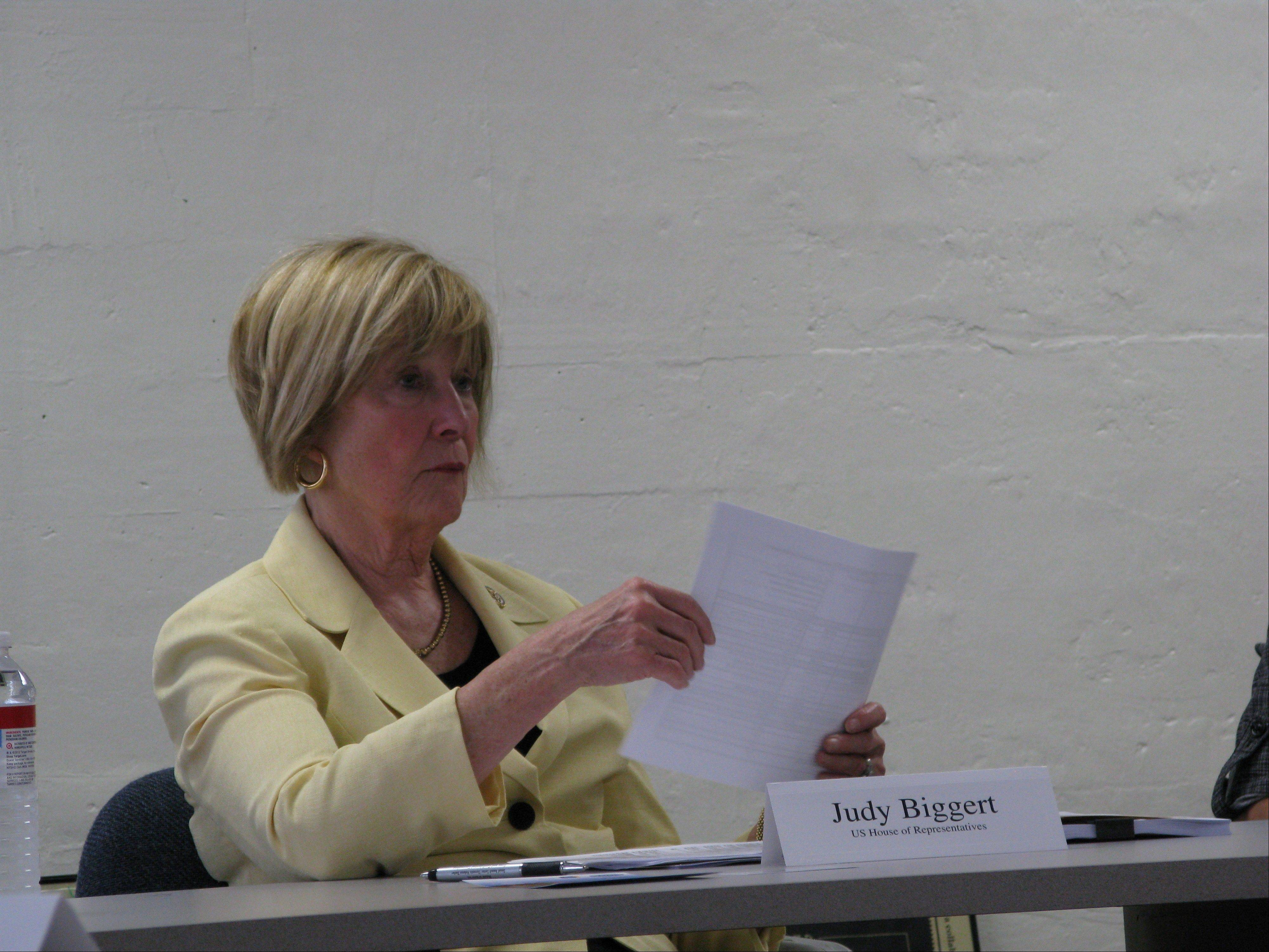 Congresswoman Judy Biggert sought support and ideas from domestic violence experts in Aurora Thursday. Biggert is taking a tough stand against her fellow Republicans on federal protections for the LGBT community and undocumented immigrant female victims.