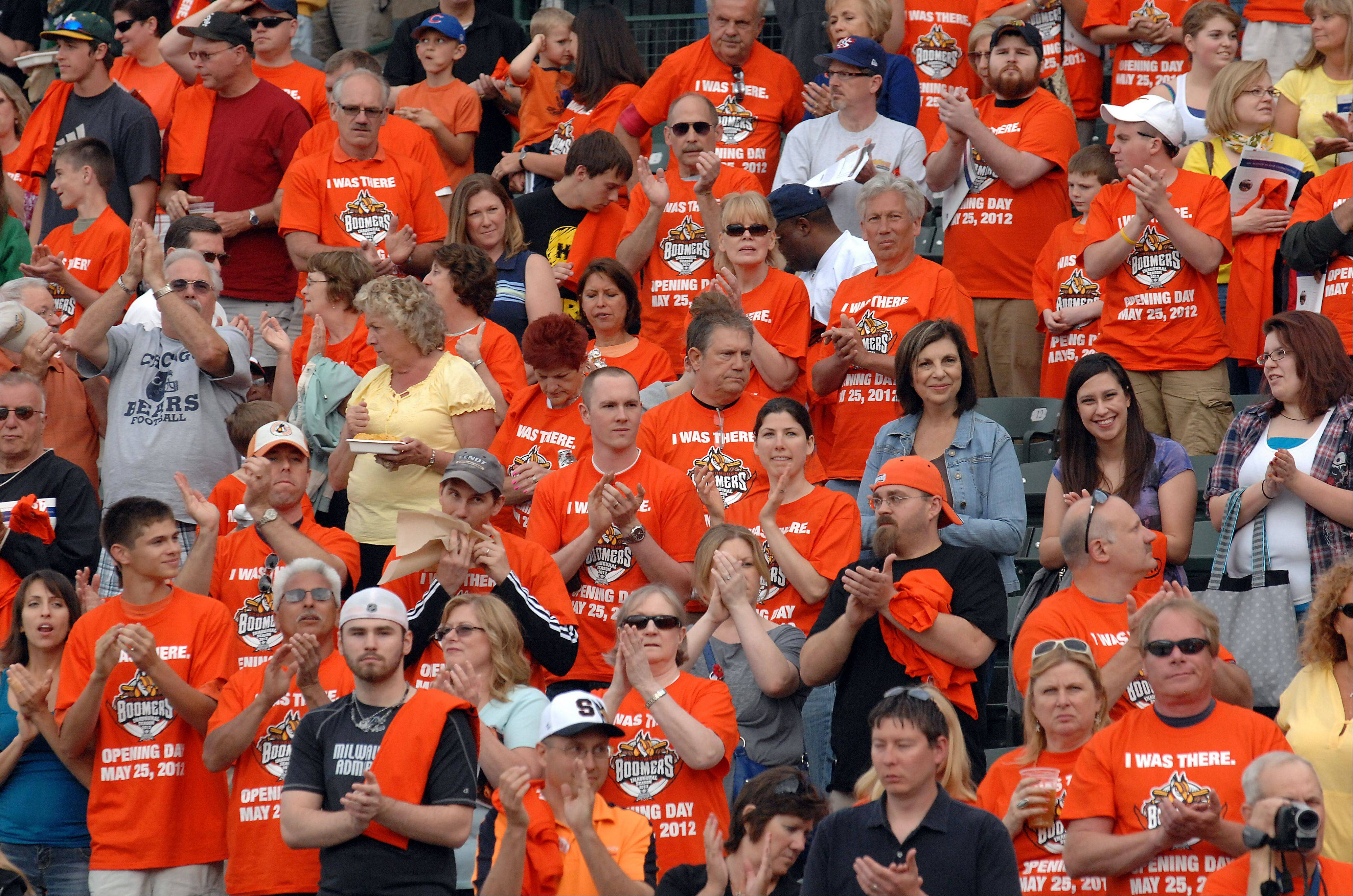 Fans in a sea of orange watch the Boomers.