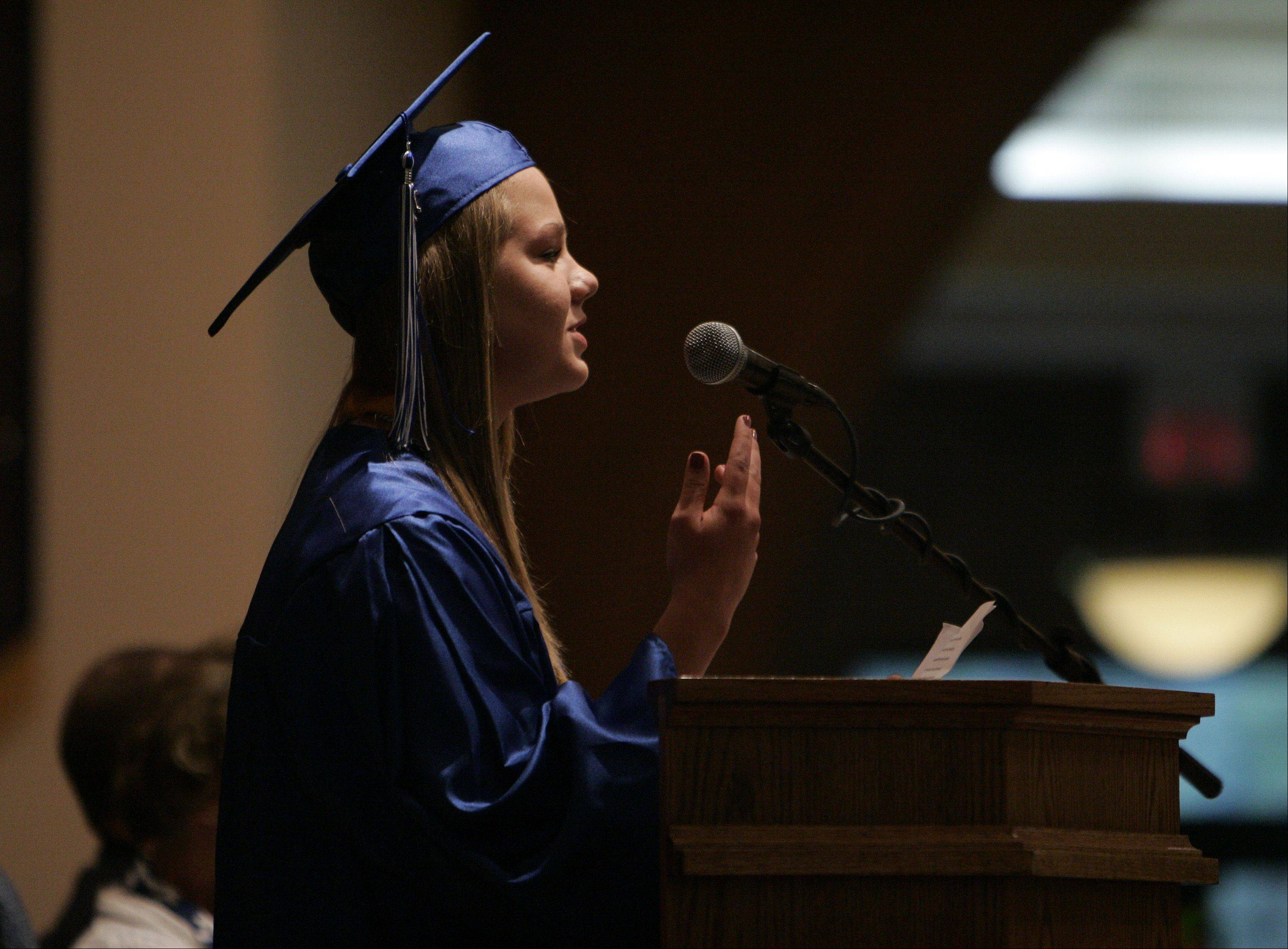 Salutatorian Whitney Vanden Bos breaks into a rap during her speech at the Westminster Christian High School graduation ceremony.