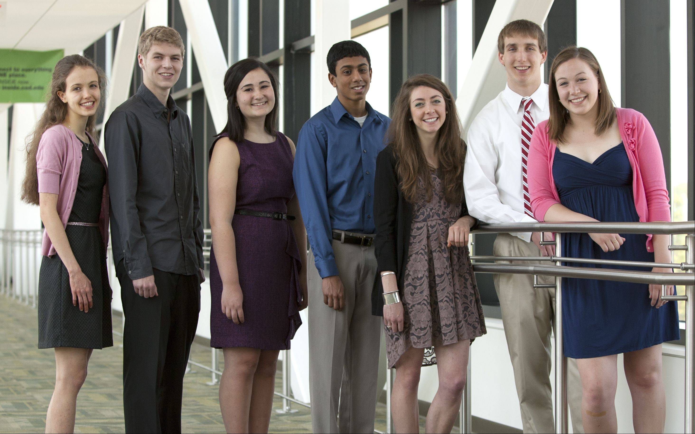 The 2011-12 DuPage County Academic Team gathers at College of DuPage. From left: Emily Riederer, Naperville North High School; Adam Alfredo Ball, Glenbard North High School; Mia Frasca, Wheaton Warrenville South High School; Ashvin Rai, Neuqua Valley High School; Katherine McDonnell, St. Francis High School; David Birkenheier, Naperville Central High School and Amy Hummel, Wheaton North High School. Not pictured: Mohammed S. Fahad, College Preparatory School of America; Rebecca Lewis, Hinsdale Central High School; Zamaan Sohel, Lake Park High School.