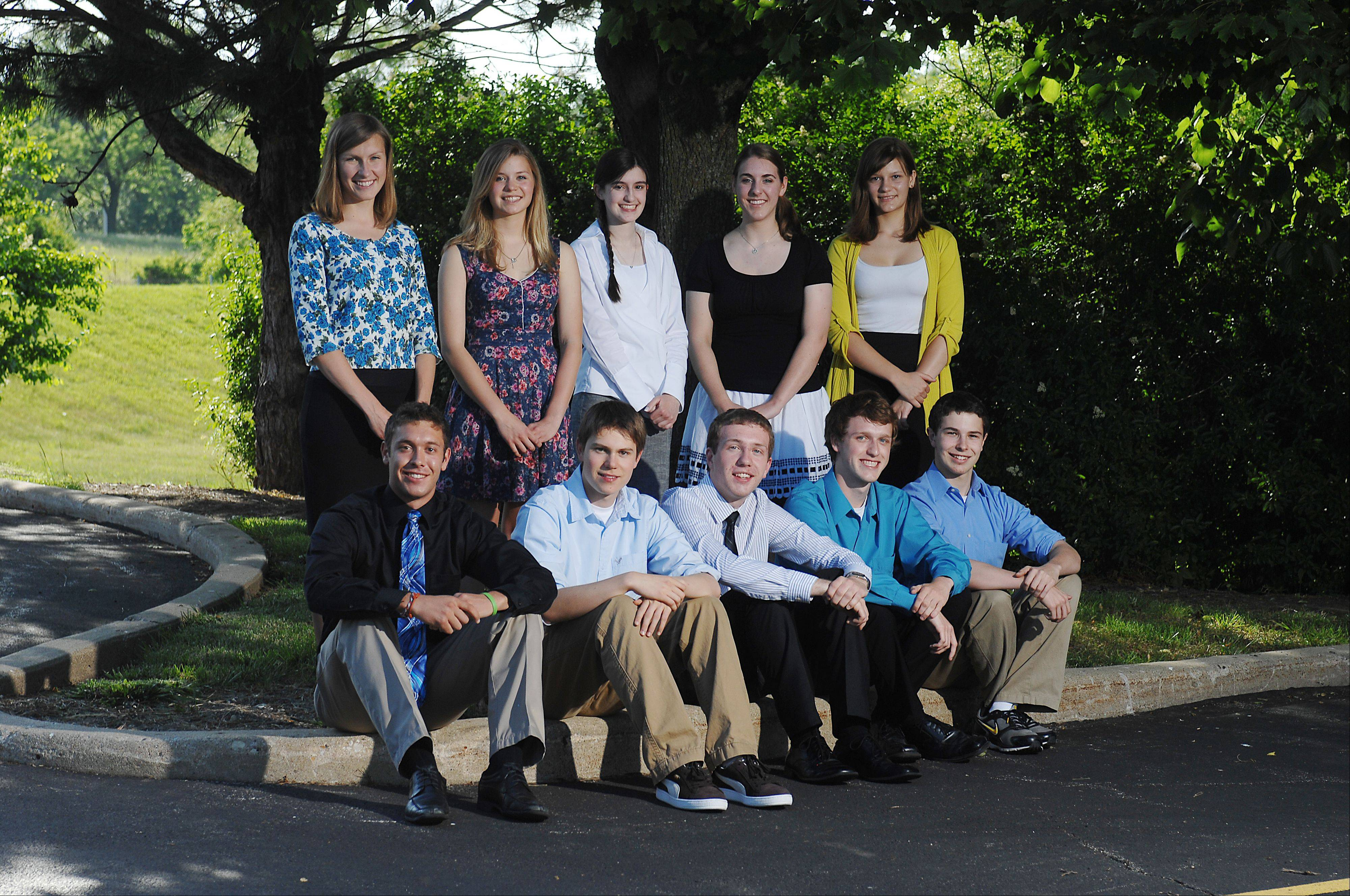 The 2011-12 Fox Valley Academic Team outside the Daily Herald's Elgin office. Front row, from left: Connor Flexman, Elgin Academy; James Bartusek, Geneva High School; Michael Fitzpatrick, Marian Central Catholic High School; Alex Whitaker, Cary-Grove High School; Ryan Wyllie, Geneva High School. Bow row, from left: Anna Gawlik, St. Charles North High School; Alexandra Tarr, (Burlington) Central High School; Allison Dianis, Harry D. Jacobs High School; Madeline Bartot, Huntley High School; and Elisah Vanden Bussche, Harry D. Jacobs High School.