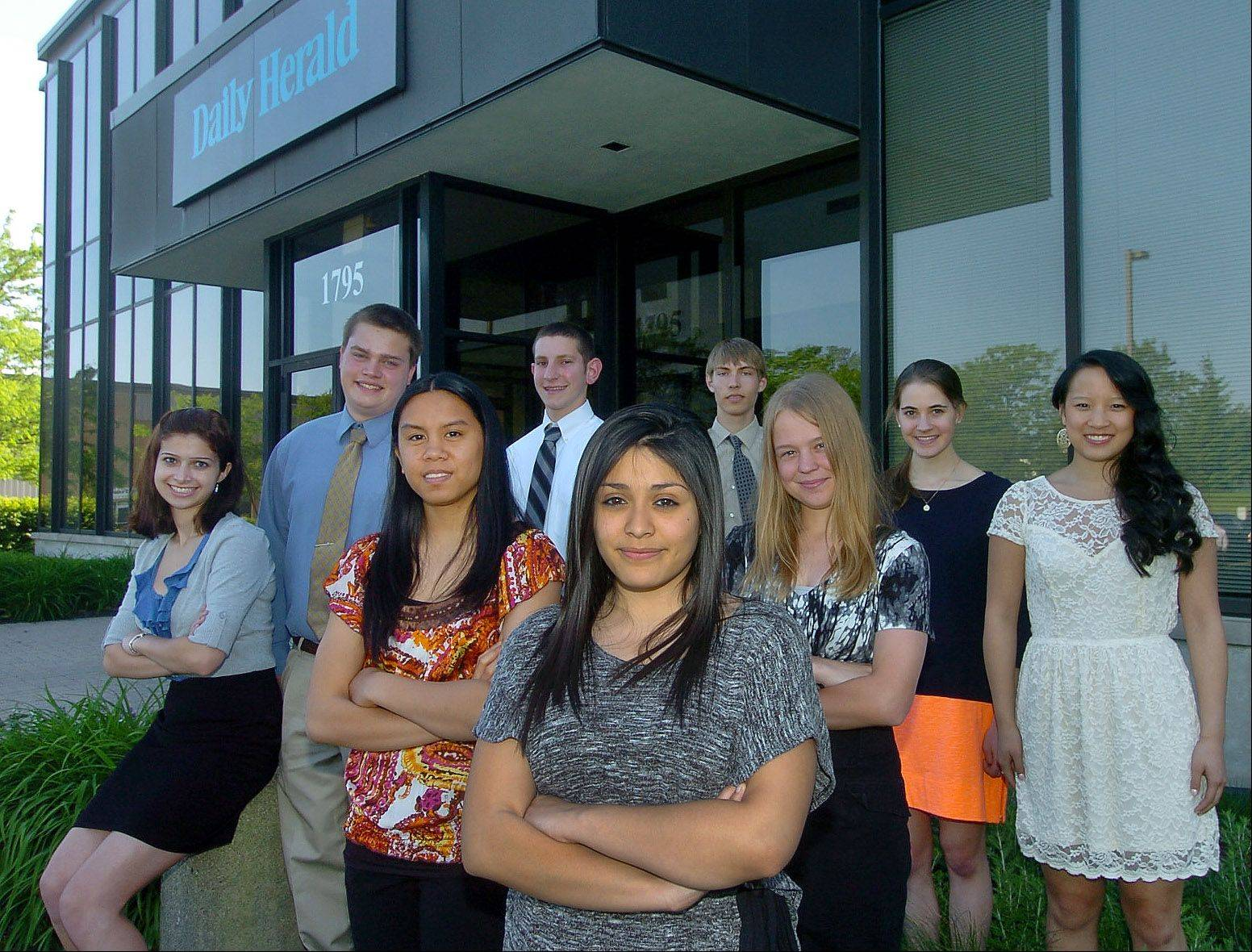 The 2011-12 Lake County Academic Team outside the Daily Herald's Libertyville office. Back row, from left: Lissa Mandell, Lake Zurich High School; David Bouma, Grant Community High School; Jonathan Kersky, Adlai E. Stevenson High School; Patrick Juras, Lake Zurich High School. Middle row, from left: Elizabeth Ulanday, Libertyville High School; Nicole Schmidt, Mundelein High School; Ingrid Watts, Woodlands Academy of the Sacred Heart; Hannah Kay, Adlai E. Stevenson High School. In front, Soledad Mendoza, Round Lake High School. Not pictured: Jenna Westerberg, Warren Township High School.