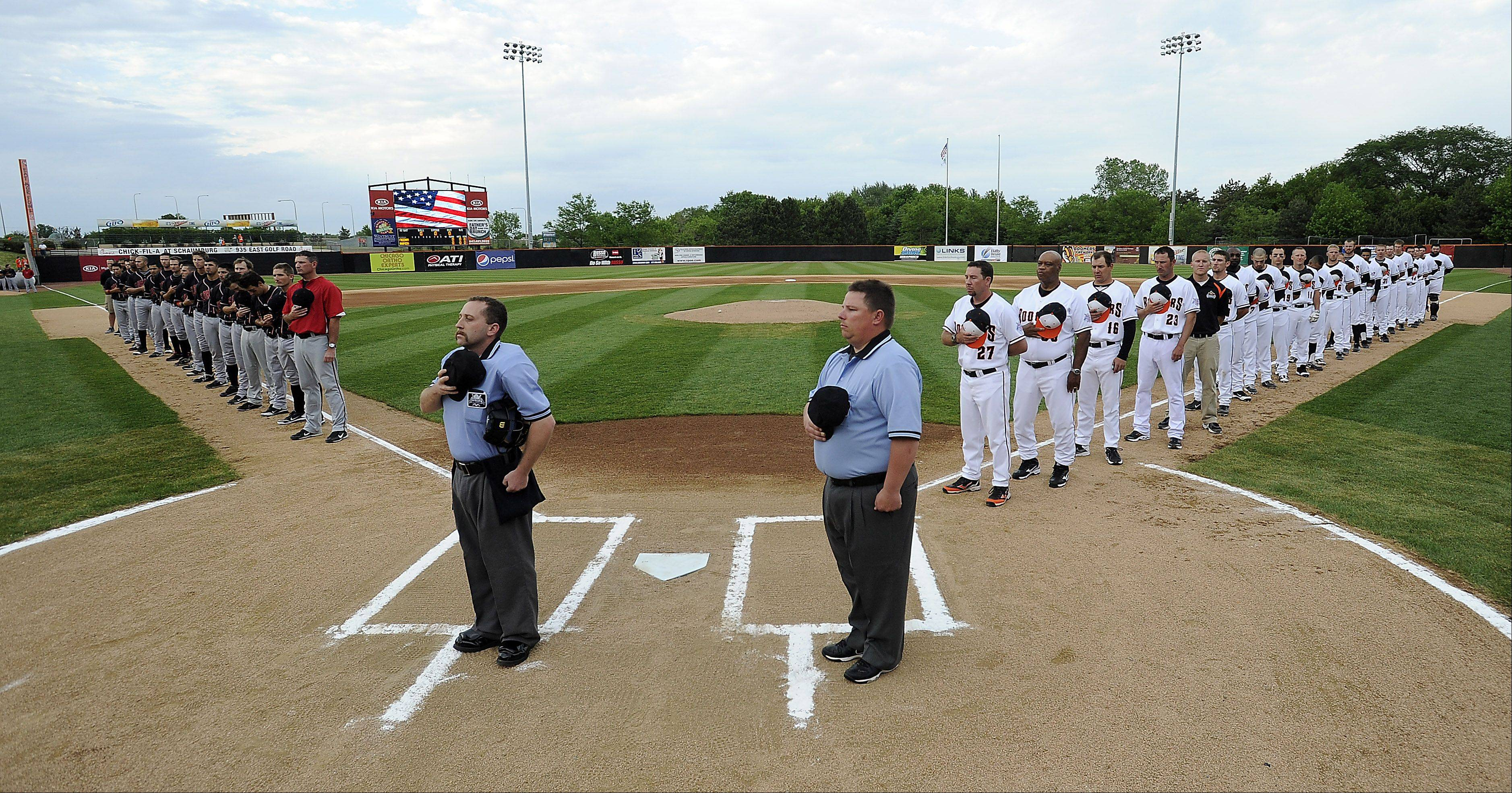 Baseball history in the making as the Schaumburg Boomers and the Florence Freedom players take the field at Boomers Stadium in Schaumburg on Friday.