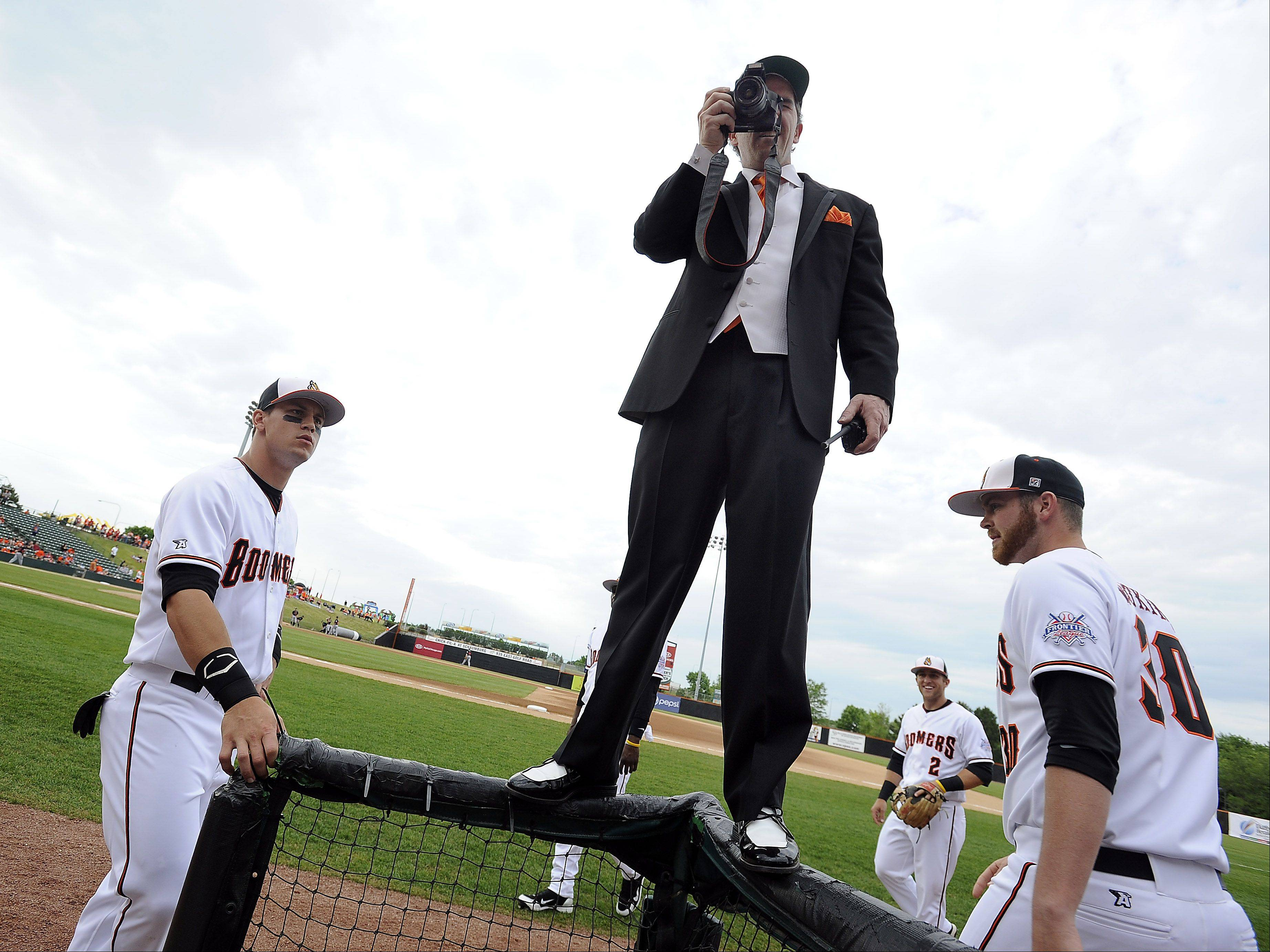 Baseball history in the making is captured by Boomers photographer Jeff Ney at Boomers Stadium in Schaumburg on Friday.