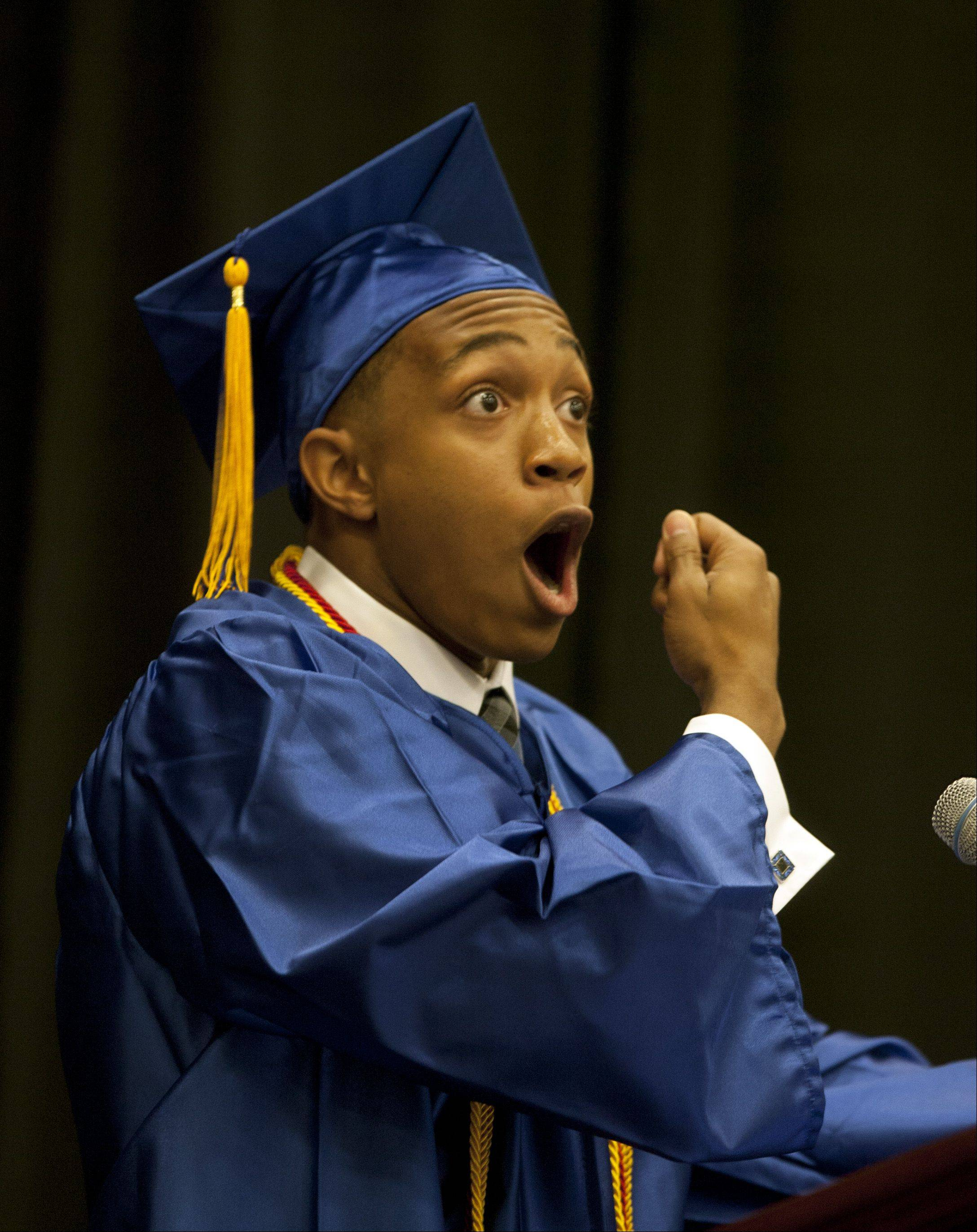 "Phillip McClure delivers a commencement speech titled ""Watch How You Walk"", during the 2012 Wheaton North High School graduation, held at College of DuPage in Glen Ellyn."