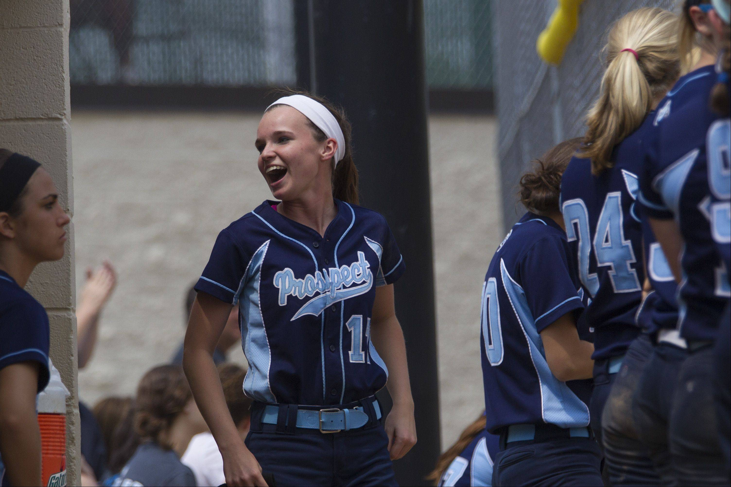 Prospect's Sarah Scaccia tries to pump up her teammates in extra innings against Barrington on Saturday.