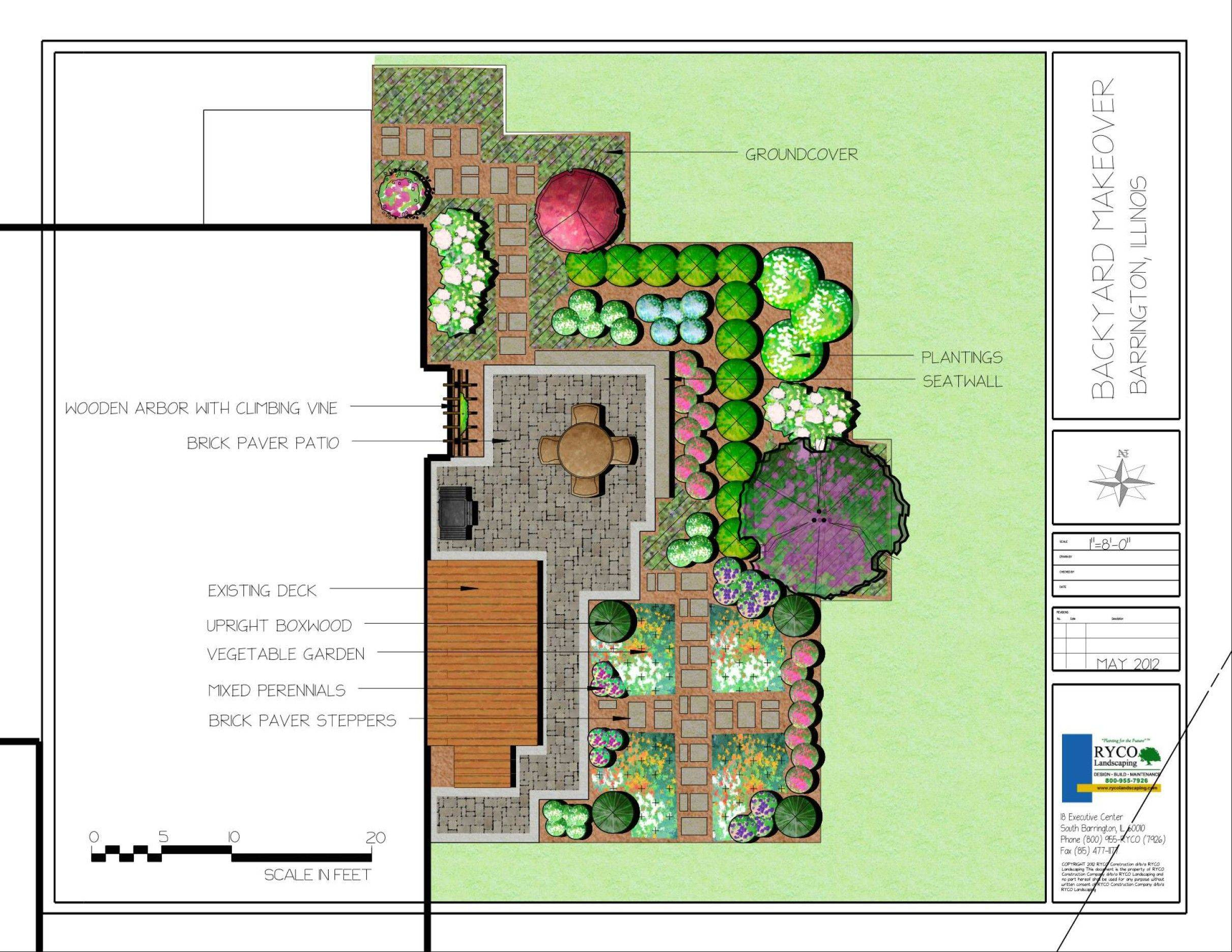 The RYCO Landscaping makeover plan involves installing a Belgard patio and seat wall, along wiht lush ground cover and pavers-as-steppingstones.
