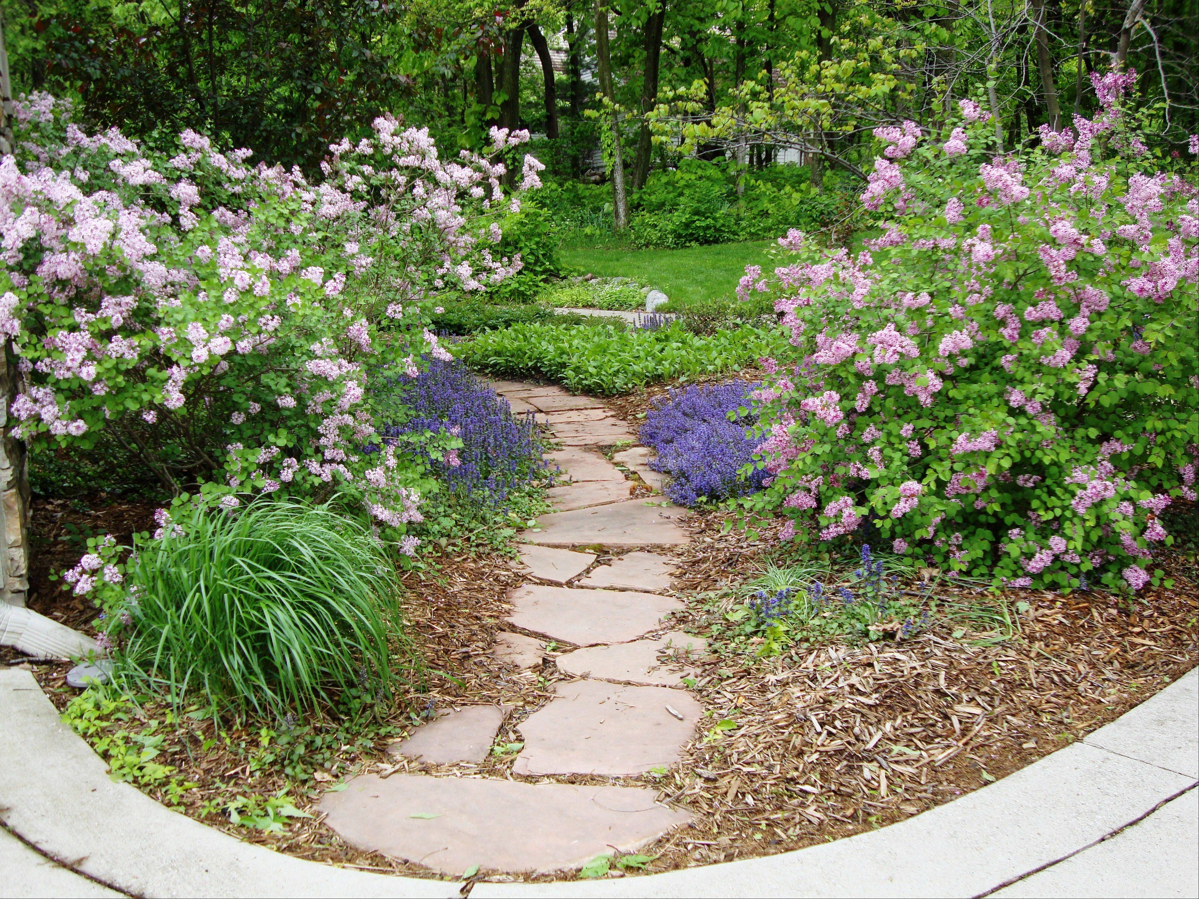 A flagstone path could lead visitors into the yard.