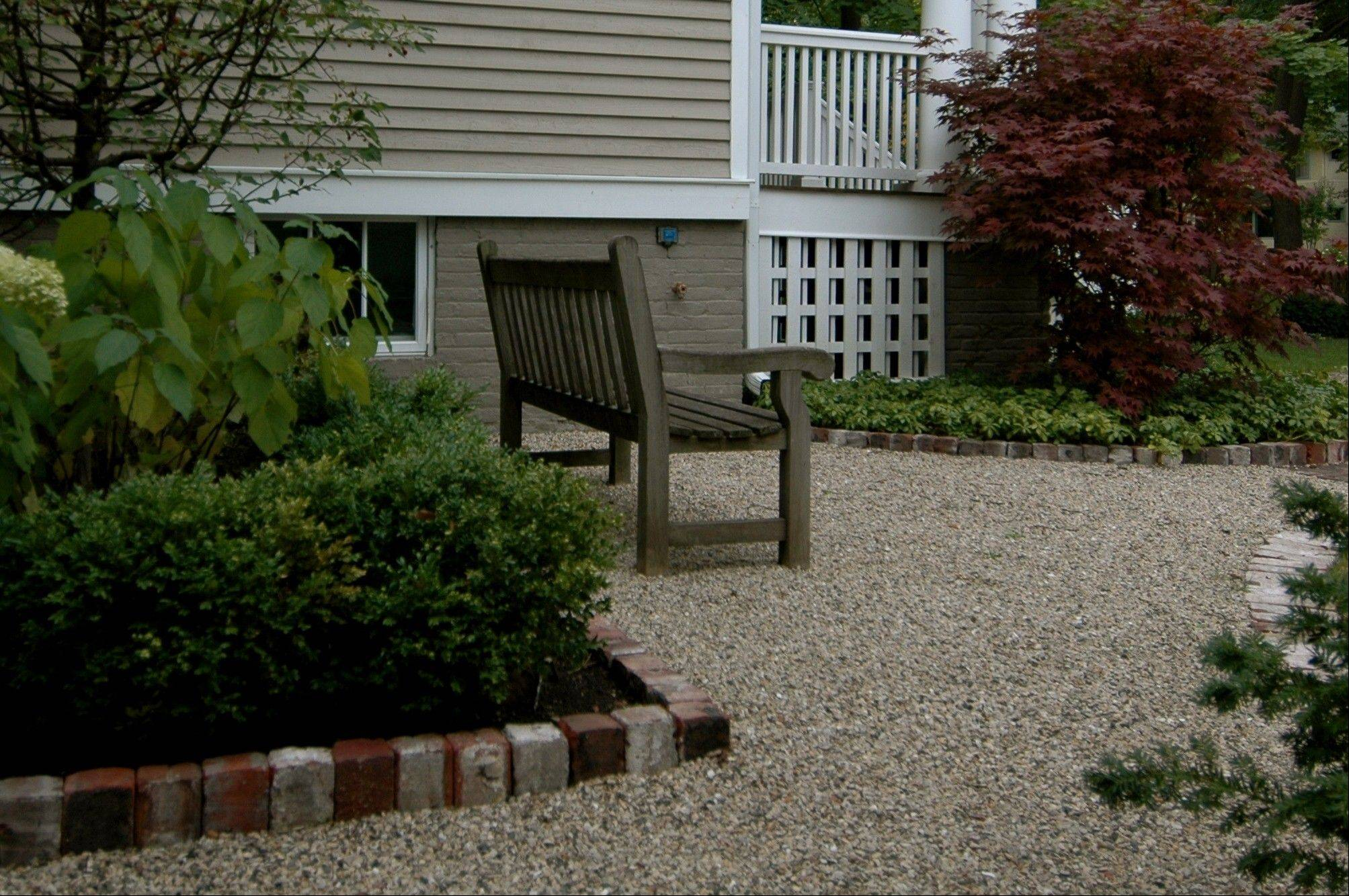 A patio could be created using crushed stone, above, or flagstone.