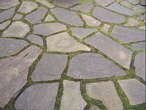 A patio could be created using crushed stone or flagstone, above, with grass joints.