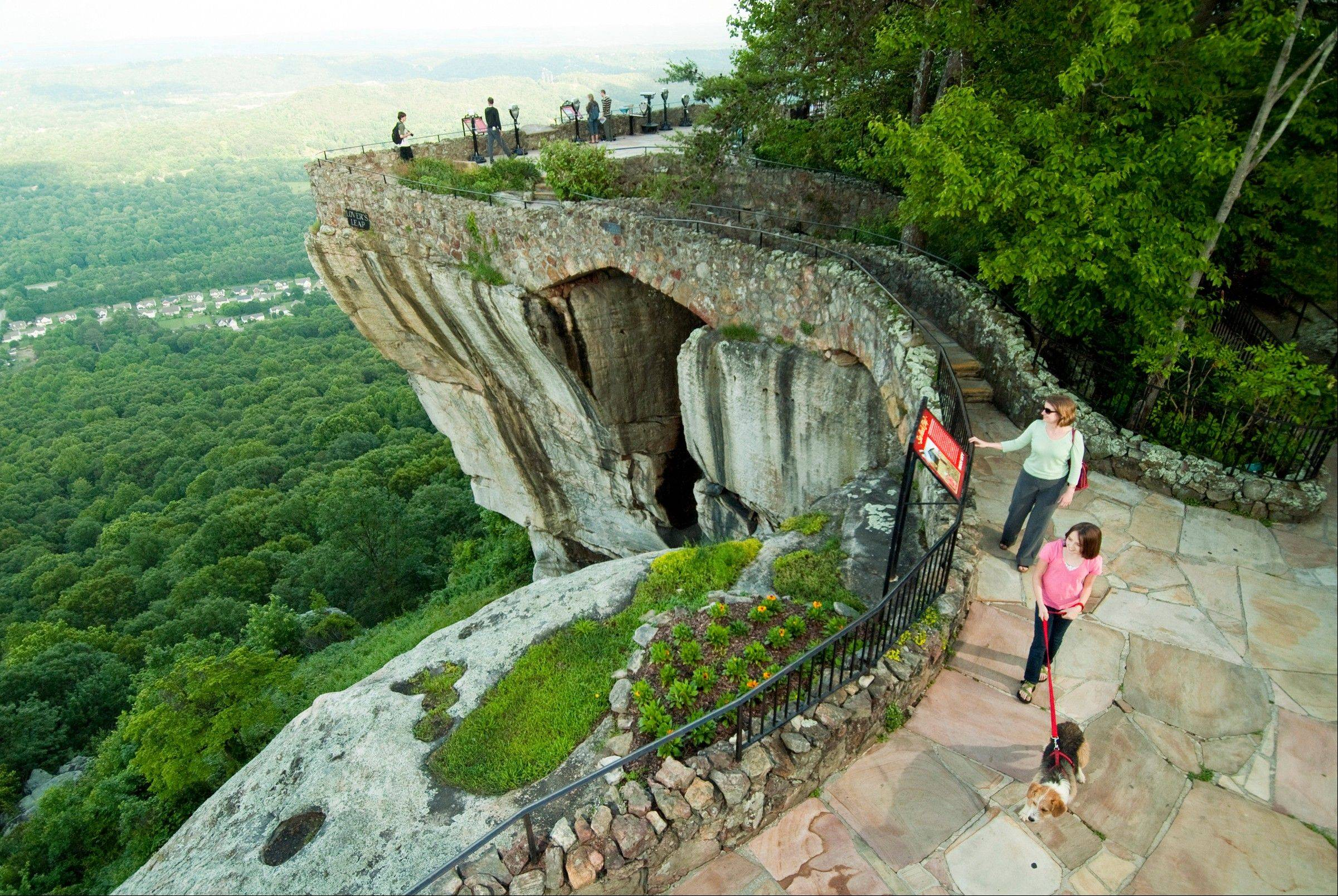 Lover's Leap, one of the well-known scenic spots along the attraction's Enchanted Trail, is shown at Lookout Mountain, Ga. Rock City is celebrating its 80th year.