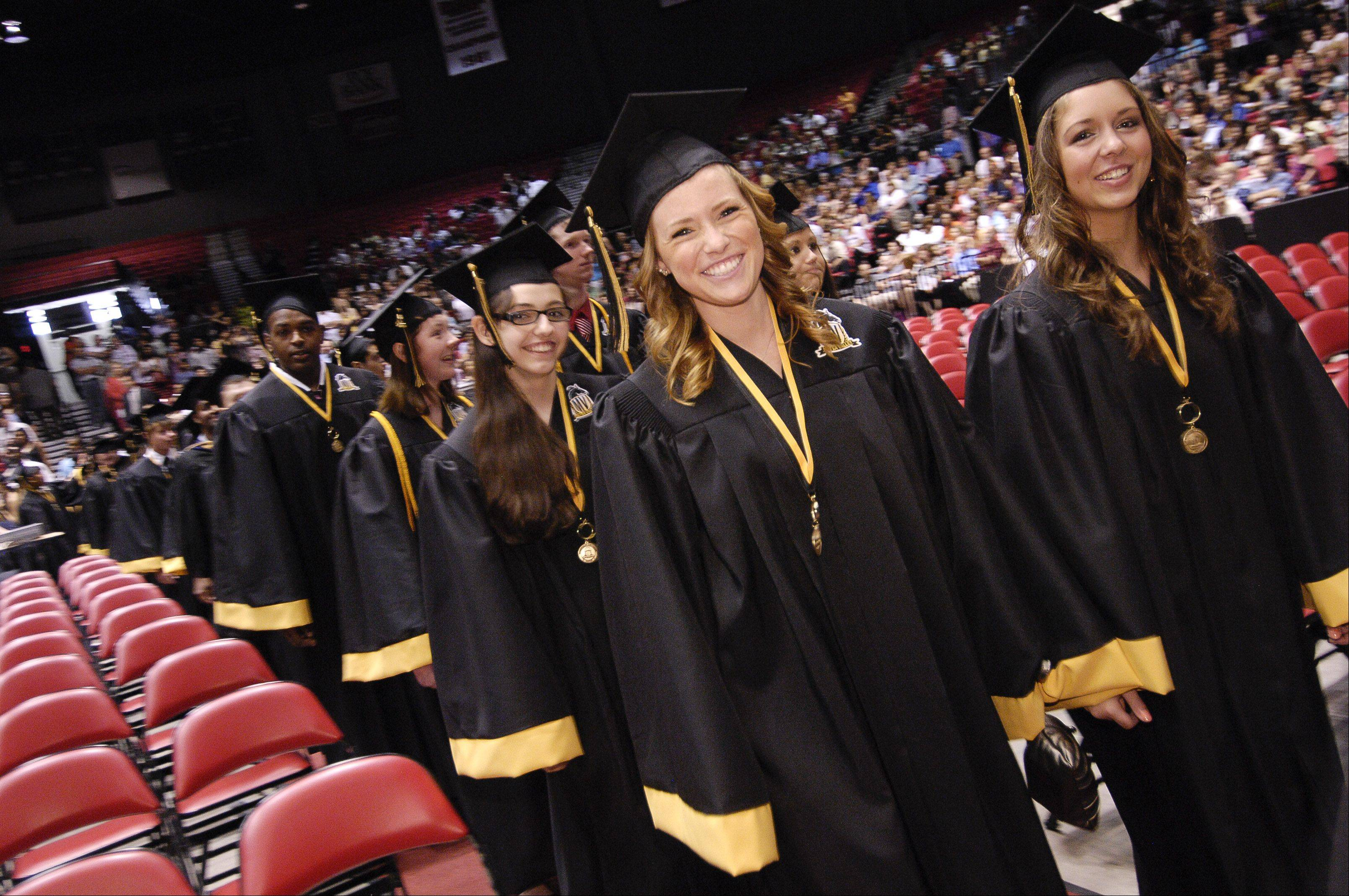 Metea Valley High School held its inaugural graduation Sunday in DeKalb at the NIU Convocation Center.